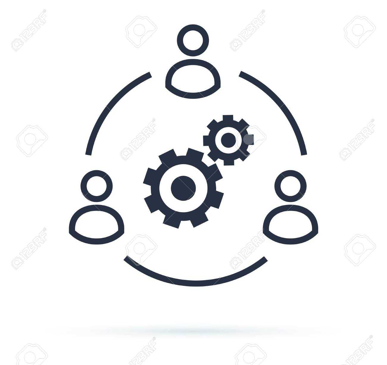 Business collaborate icon vector image. Teamwork Corporation Concept. Conceptual icon of businessteam working cohesively. Interaction and unity. Togetherness, brainstorm vector sign isolated on white. - 123990190