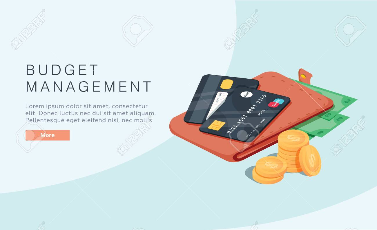 Budget management concept in isometric vector illustration. Money economy background with billfold. Profit or revenue analysis as part of accounting. Web banner layout template. Online taxes - 123693440