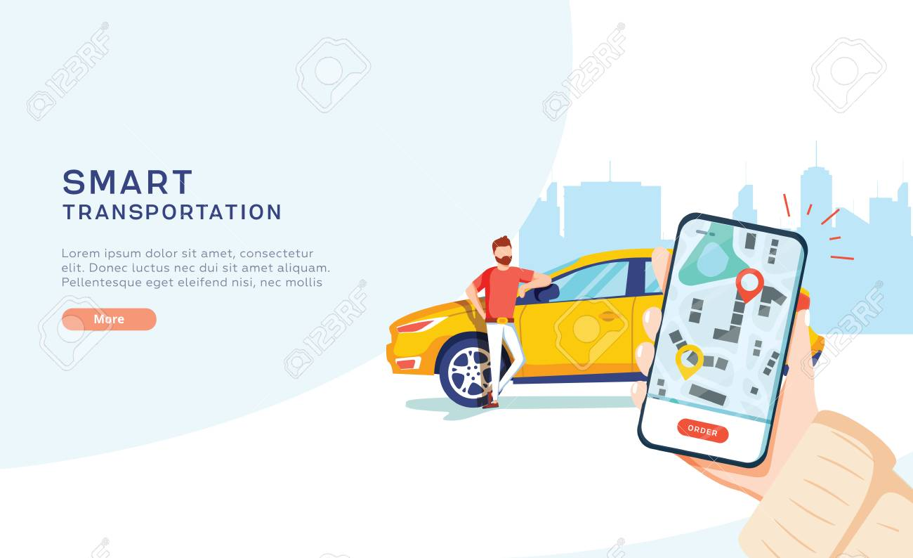 Smart city transportation vector illustration concept, Online car sharing with cartoon character and smartphone, can use for, landing page, template, ui, web, mobile app, poster, banner, flyer - 123299668