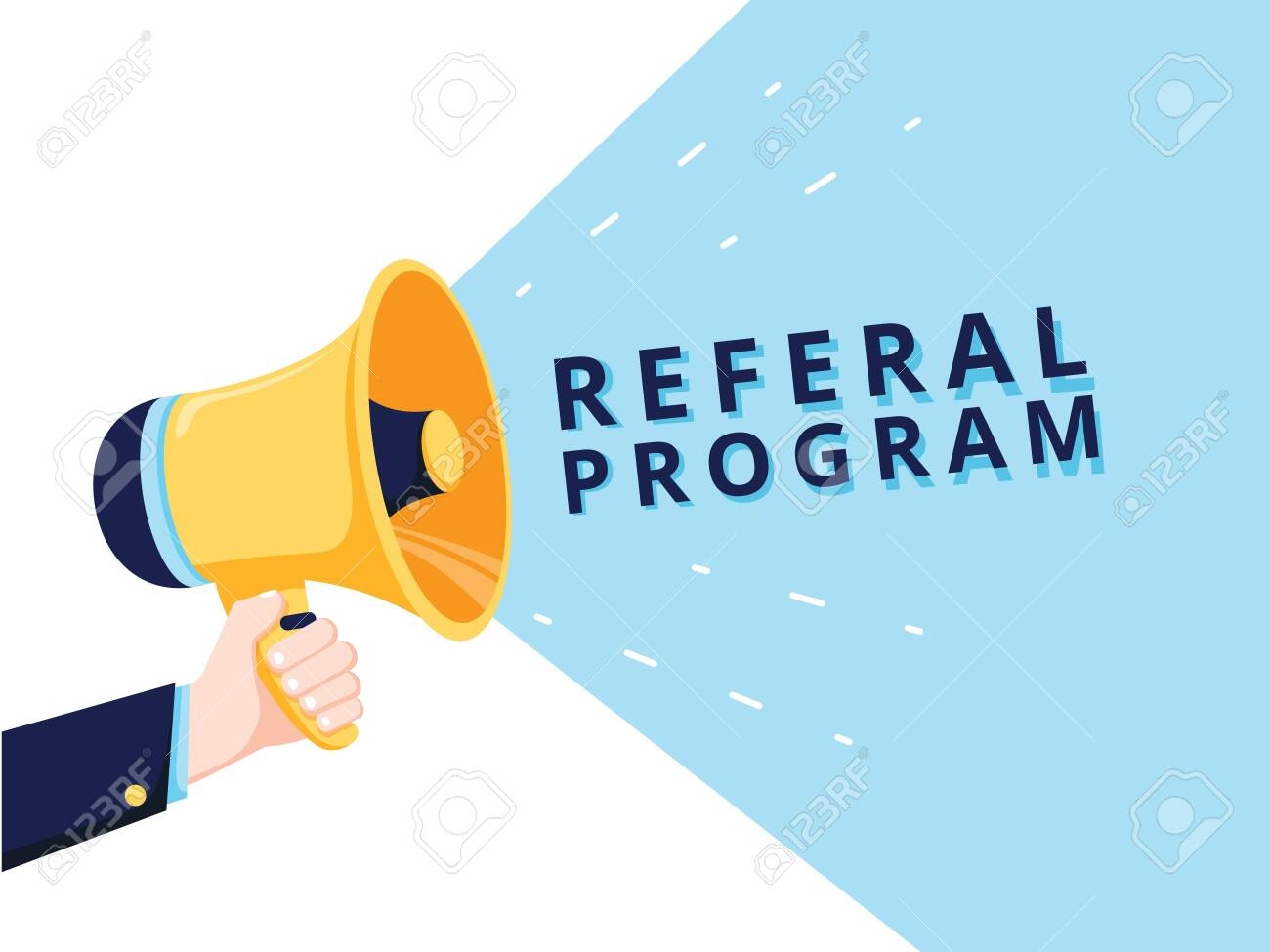 Male hand holding megaphone with referral program speech bubble