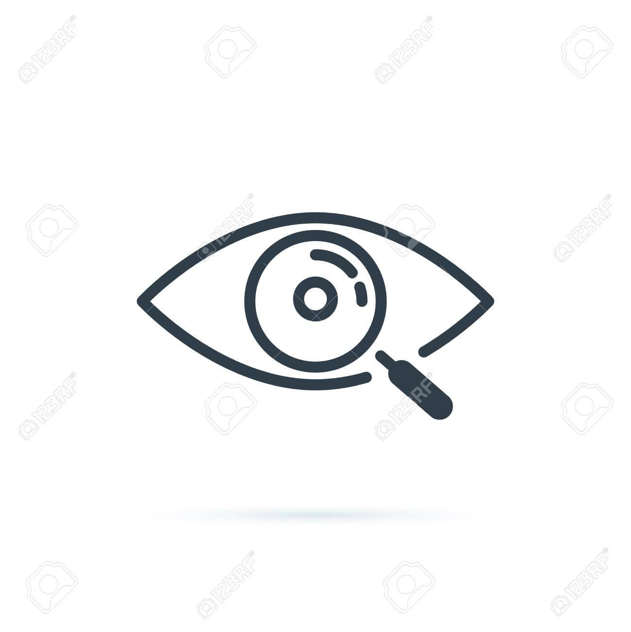 Magnifier with eye outline icon. Find icon, investigate concept symbol. Eye with magnifying glass. Appearance, aspect. - 121663500