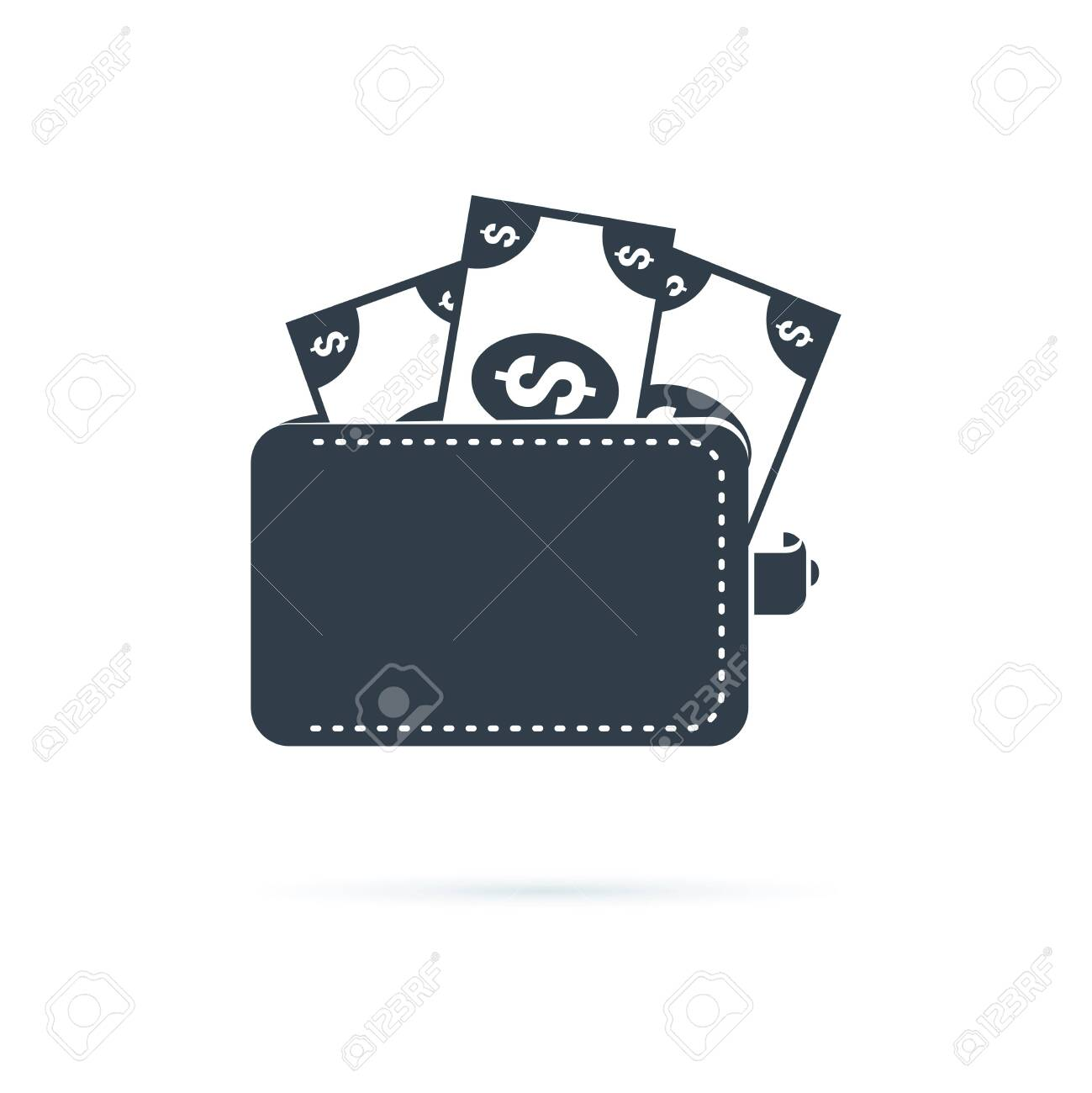 Wallet icon. Affordability sign. Cash savings symbol. Quality design element. Classic style icon. Vector solid icons for website, infographic or app. Financial symbol with money, currency, dollars. - 123299673