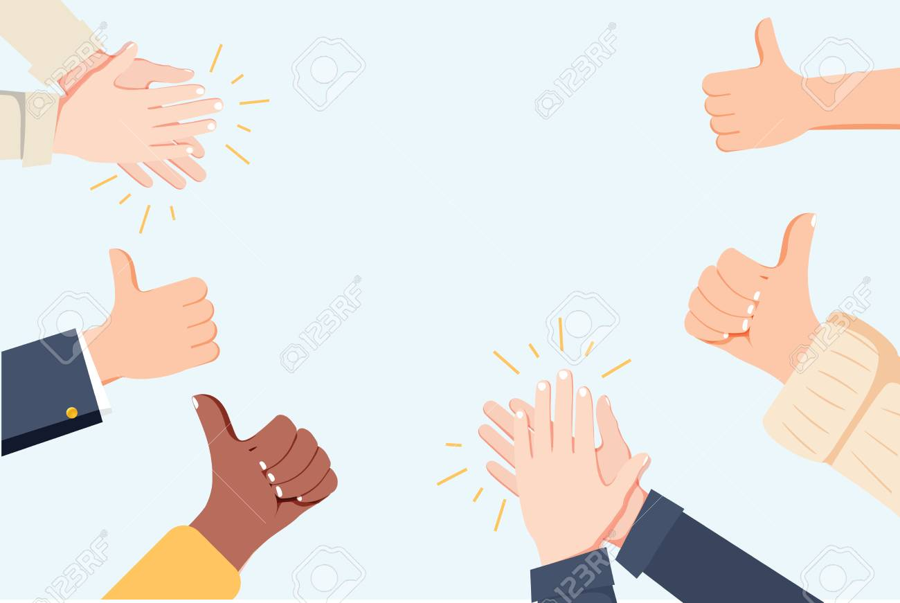 Human hands clapping. Applaud hands. Vector illustration in flat style. Many Hands clapping ovation and thumps up, applaud hands. Flat cartoon business success illustration. Social media marketing - 122914480