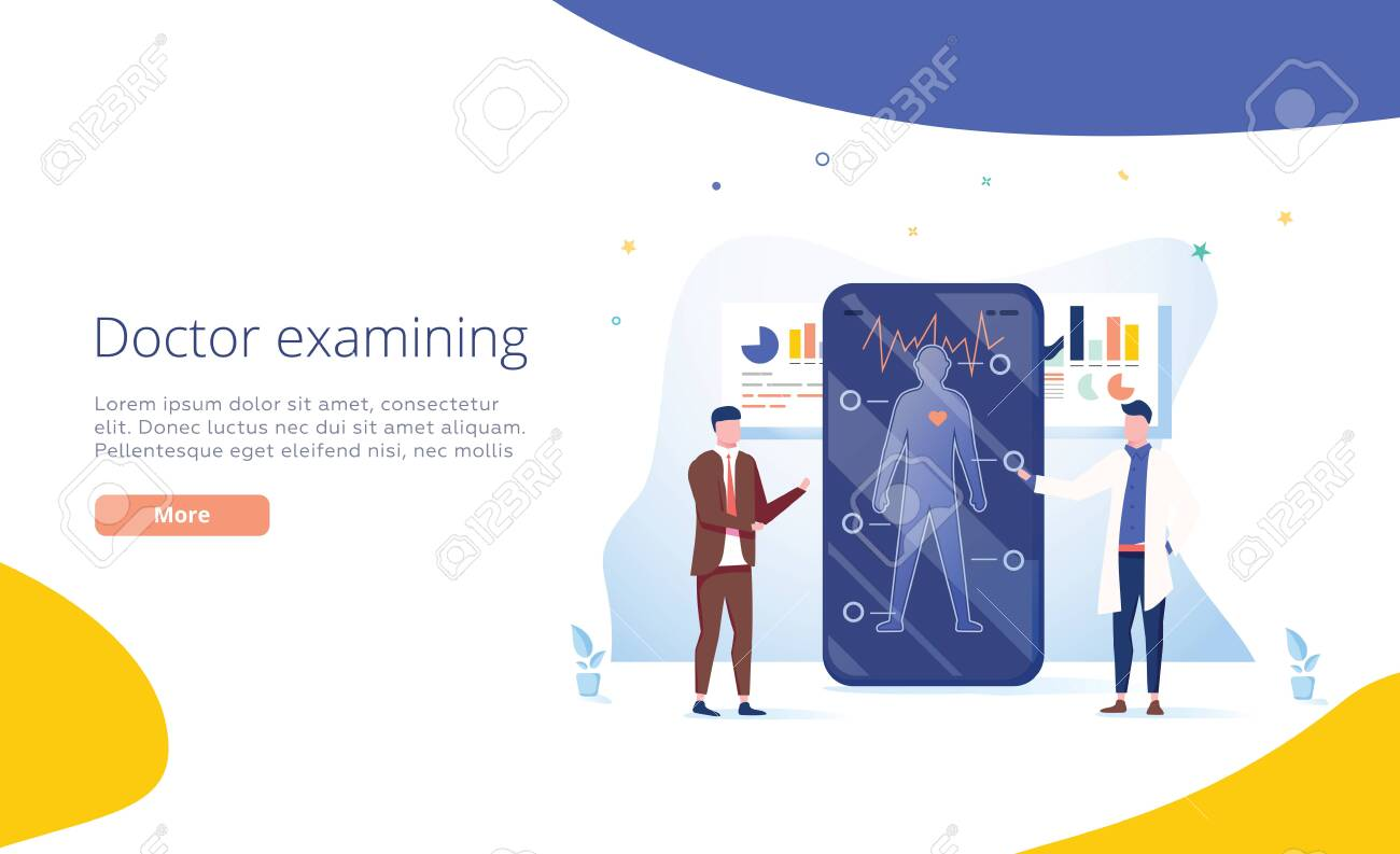 Doctors examining a patient using a medical app on a smartphone, online medical consultation and technology concept. Healthy lifestyle and healthcare app concept. Doctor consulting patient. Symptoms - 122914481