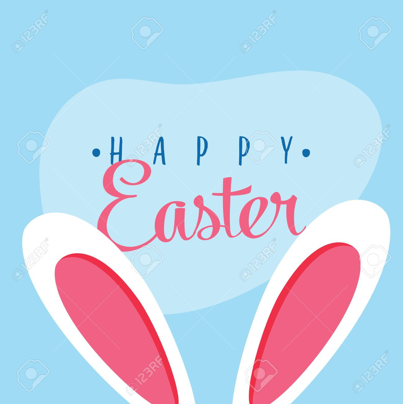Cute easter bunny vector illustration, bunny ears. Greeting card with Happy Easter writing. Ears of rabbit Isolated on blue background. Holiday postcard, beautiful, colorful post for social networks - 121663535