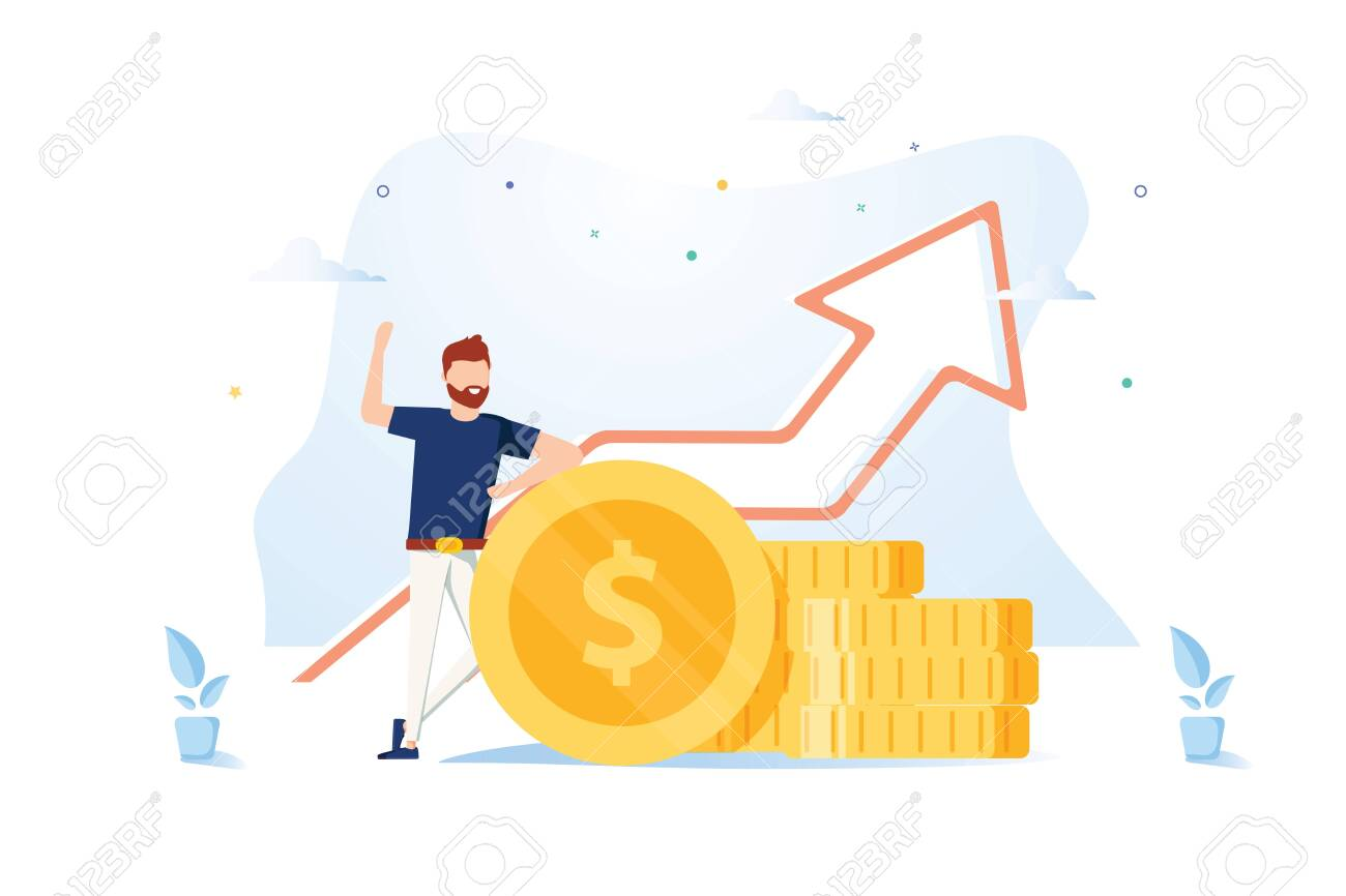 Financial consultant leaning on a stack of coins smiles friendly and waves with hand. Successful investor or entrepreneur. Financial consulting, investment and savings. Modern vector illustration. - 122706596