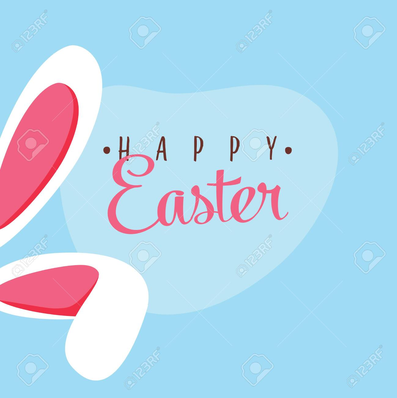 Cute easter bunny vector illustration, bunny ears. Greeting card with Happy Easter writing. Ears of rabbit Isolated on blue background. Holiday postcard, beautiful, colorful post for social networks. - 122045044