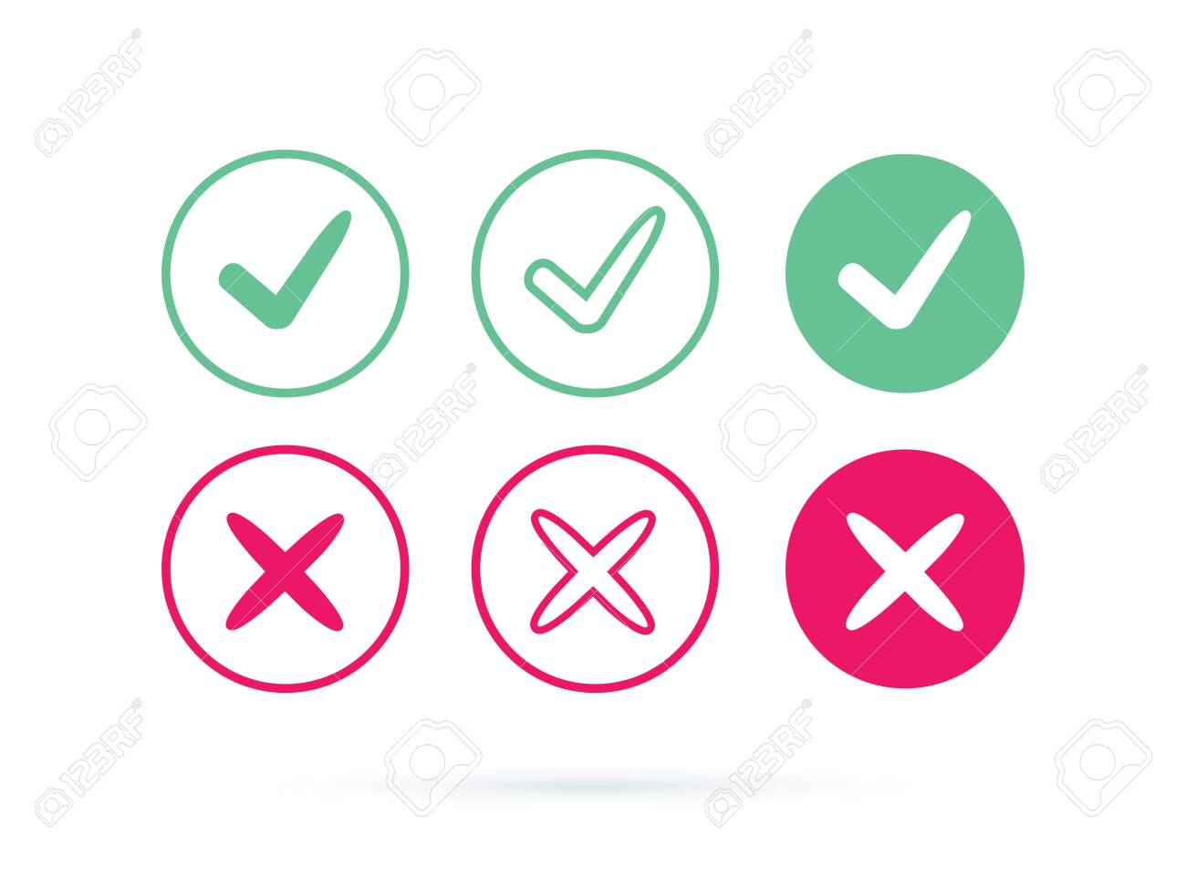 Check mark logo vector or icon. Tick symbol in green color illustration. Accept okey symbol for approvement or cheklist design. Choice minimalistic pictogram. Positive and negative checkmarks for web - 122045045