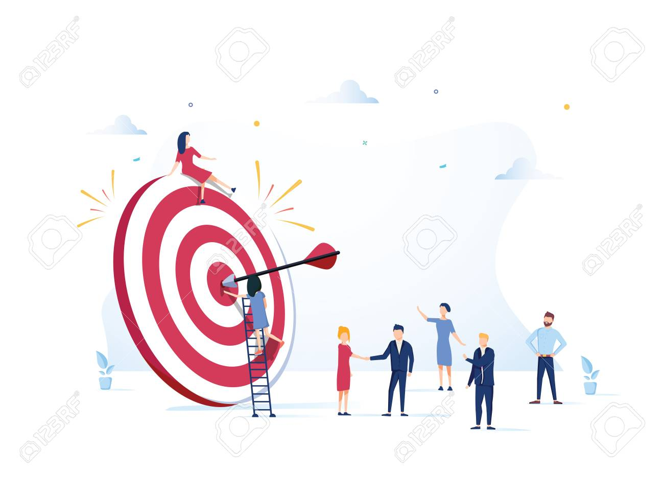 Business Vision, big target with people, teamwork, people run to their goal, move up motivation, target achievement - 125159956
