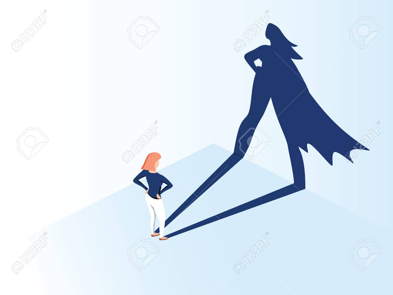 Business woman with big shadow superhero. Super manager leader in business. Concept of success, quality of leadership. - 125159964