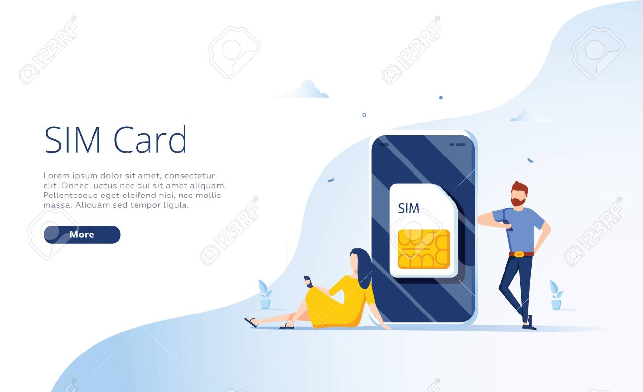 SIM card concept in vector illustration. Mobile network with esim microchip technology. Web banner. - 132574927