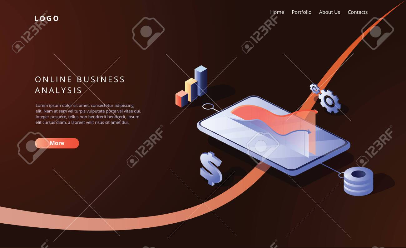 Online business analysis strategy isometric vector illustration. Data analytics for company marketing solutions or financial performance. Budget accounting or statistics concept. Payment system - 128358098