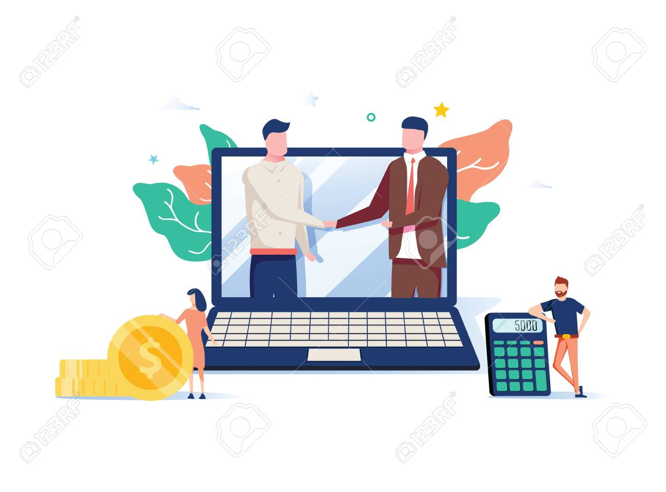 Two business partners shaking hands in big laptop. Online business, Partnership and agreement, with small employ around - 132173188