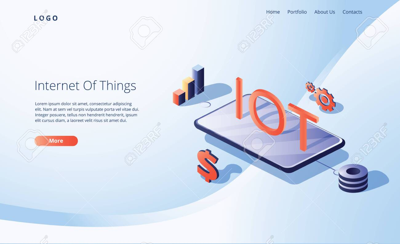Internet of things concept. IOT with big smartphone and small business icons around. Digital global ecosystem - 132173181