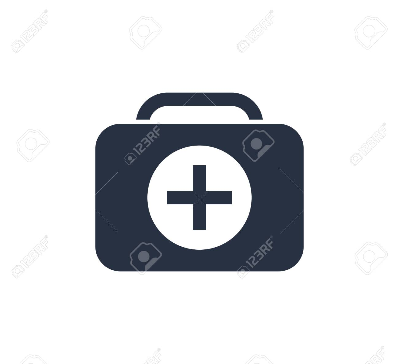 First Aid Kit Icon Vector Illustration. Healthcare icon with emergency briefcase equipment. Life care, medical icon. - 132172857