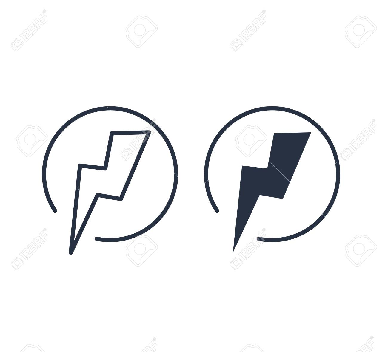 Lightning Electric Icon Vector Illustration. Battery button. Power vector design element. Energy and thunder - 132579418