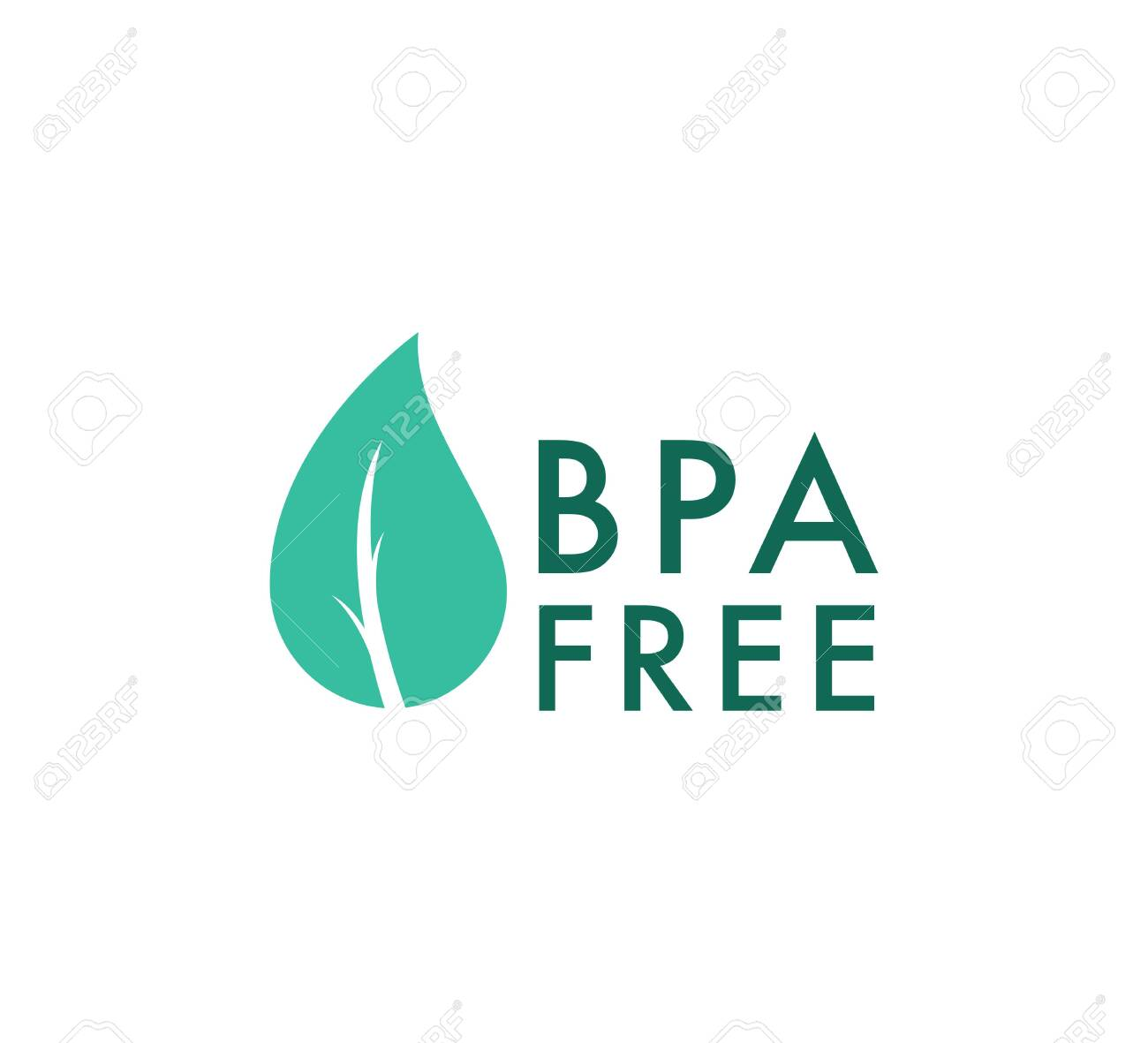 BPA free vector icon, Safe food package stamp. Healthy BPA free check mark leaf and drop seal. No toxic approved icon - 132579452