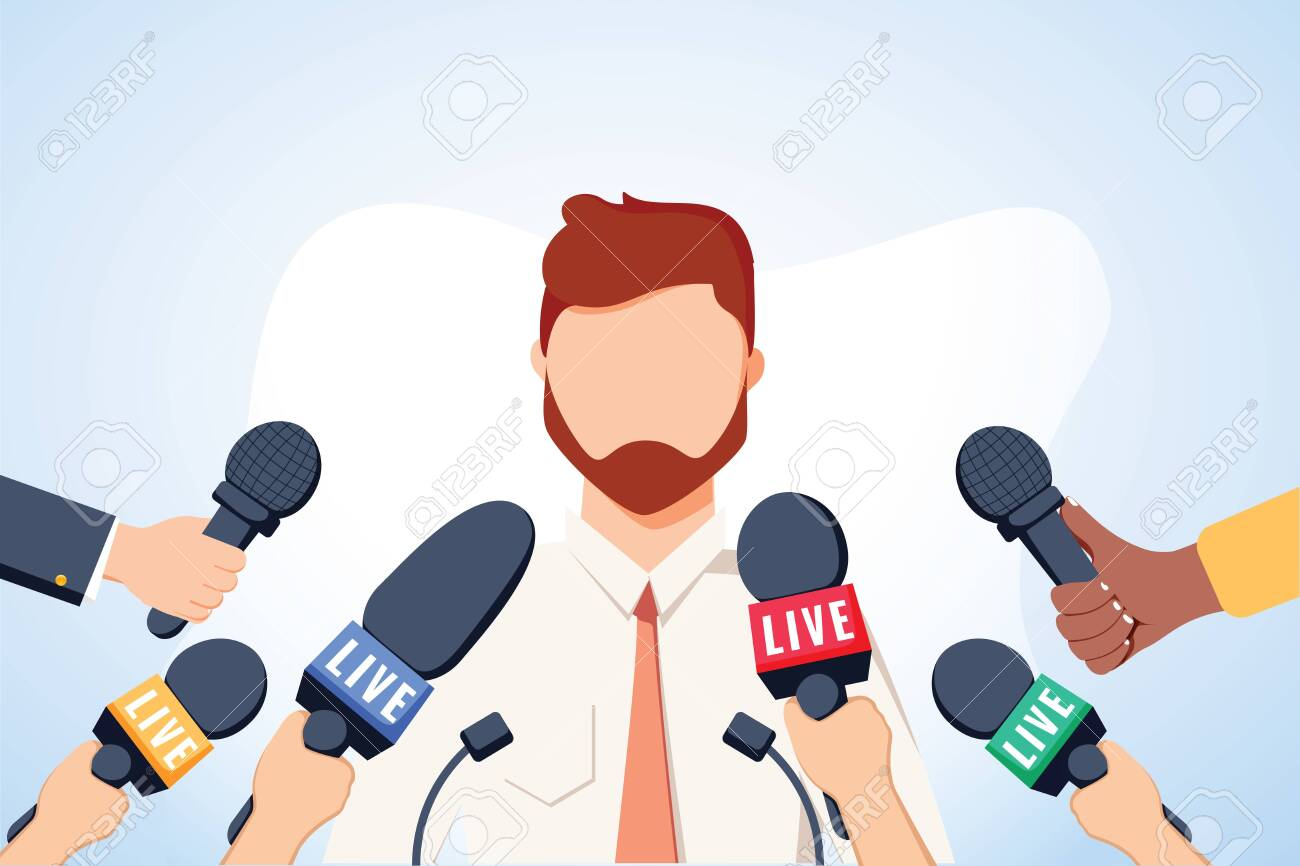 Tv interview microphones, broadcasting male speech. Happy popular young man recording opinion, business, political celebrity giving comments for news, reportage. Vector flat style cartoon illustration - 132172870