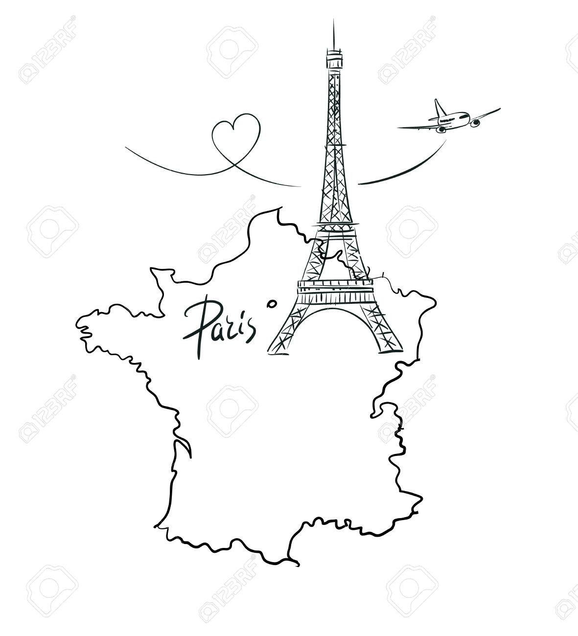 Map Of France Paris.Hand Drawn Illustration With Eiffel Tower And Map Of France