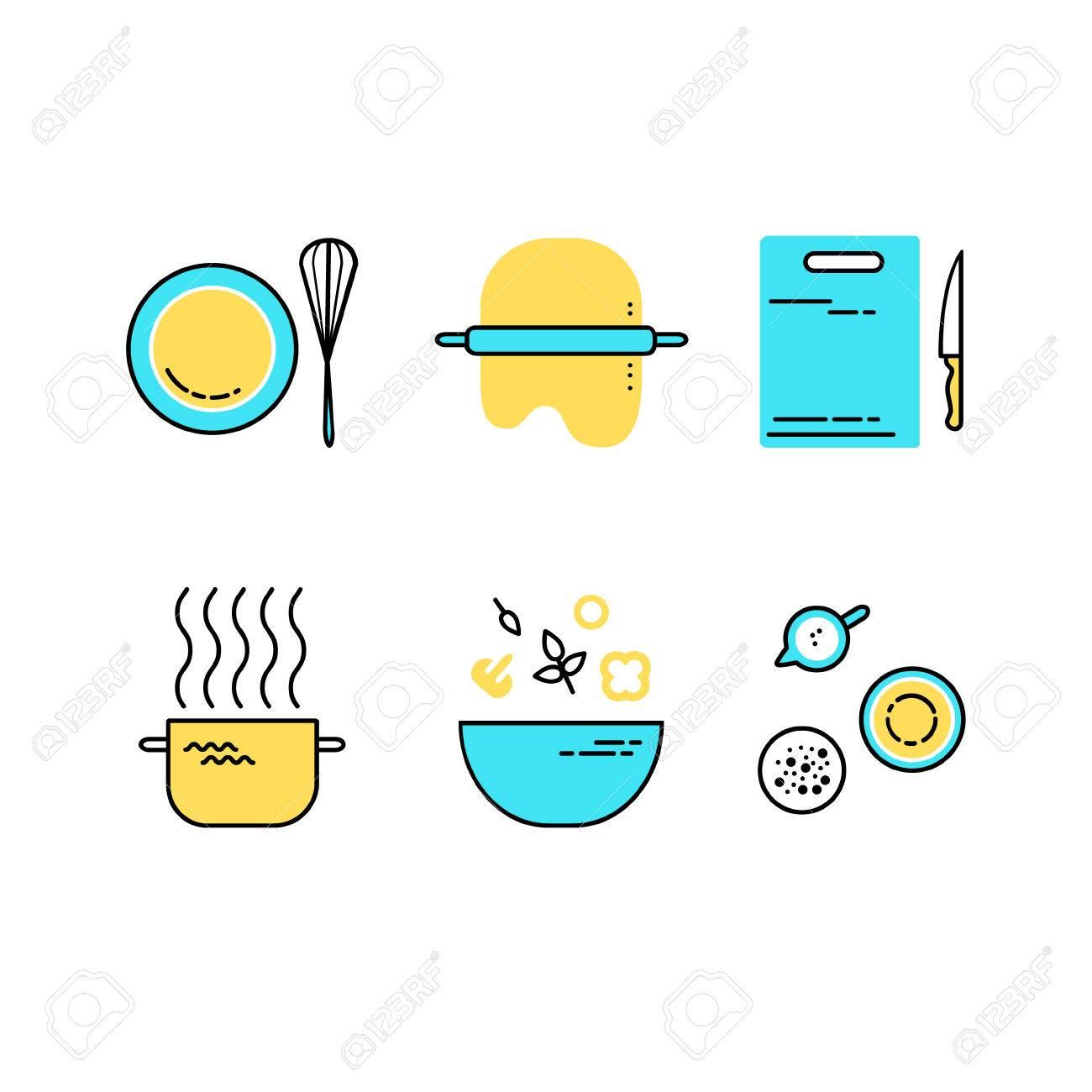 Ensemble D Icônes De Cuisine En Ligne Plat Alimentation éléments De Conception De Préparation