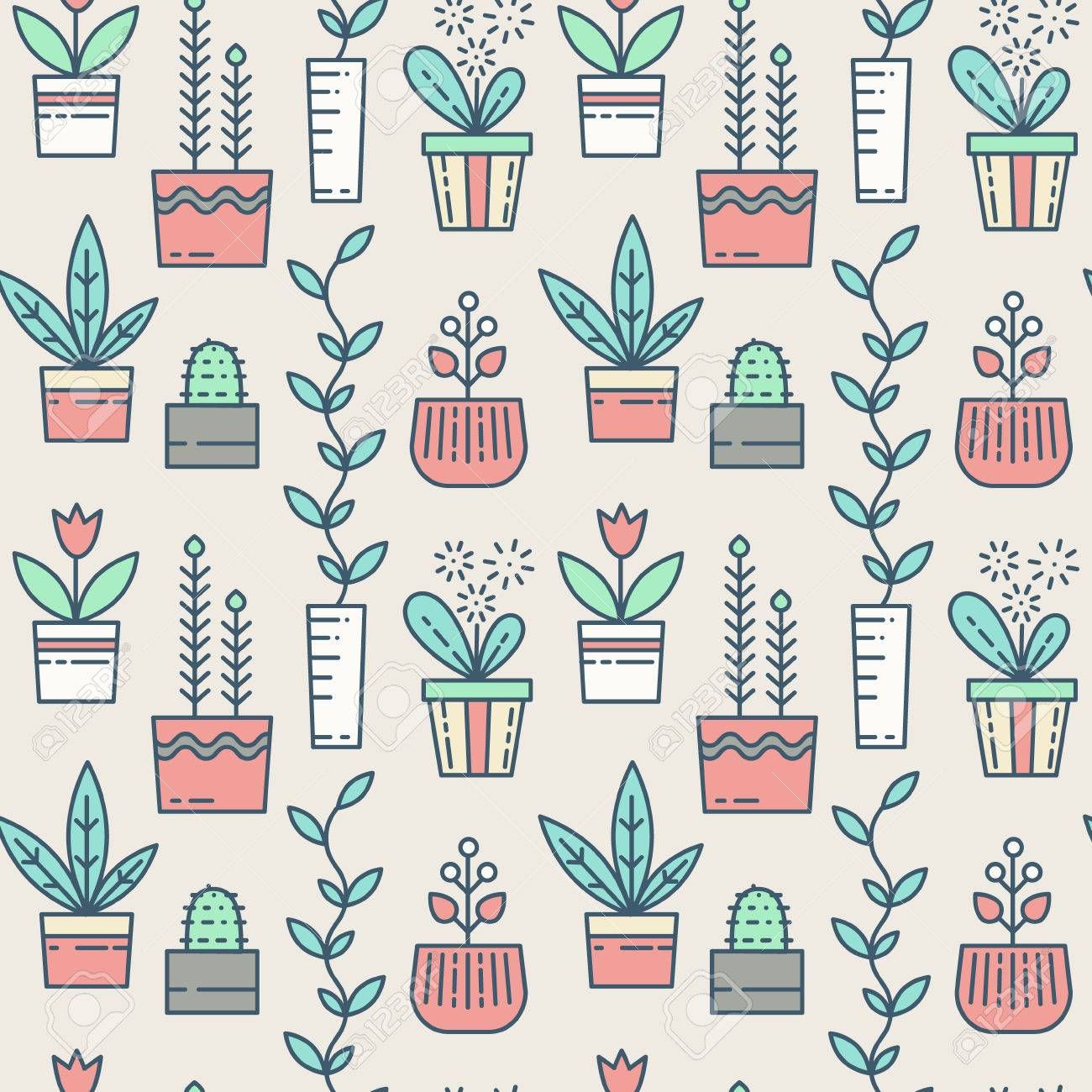 Line houseplants icons seamless pattern. Vector flowers in pots Stock Vector - 58192845