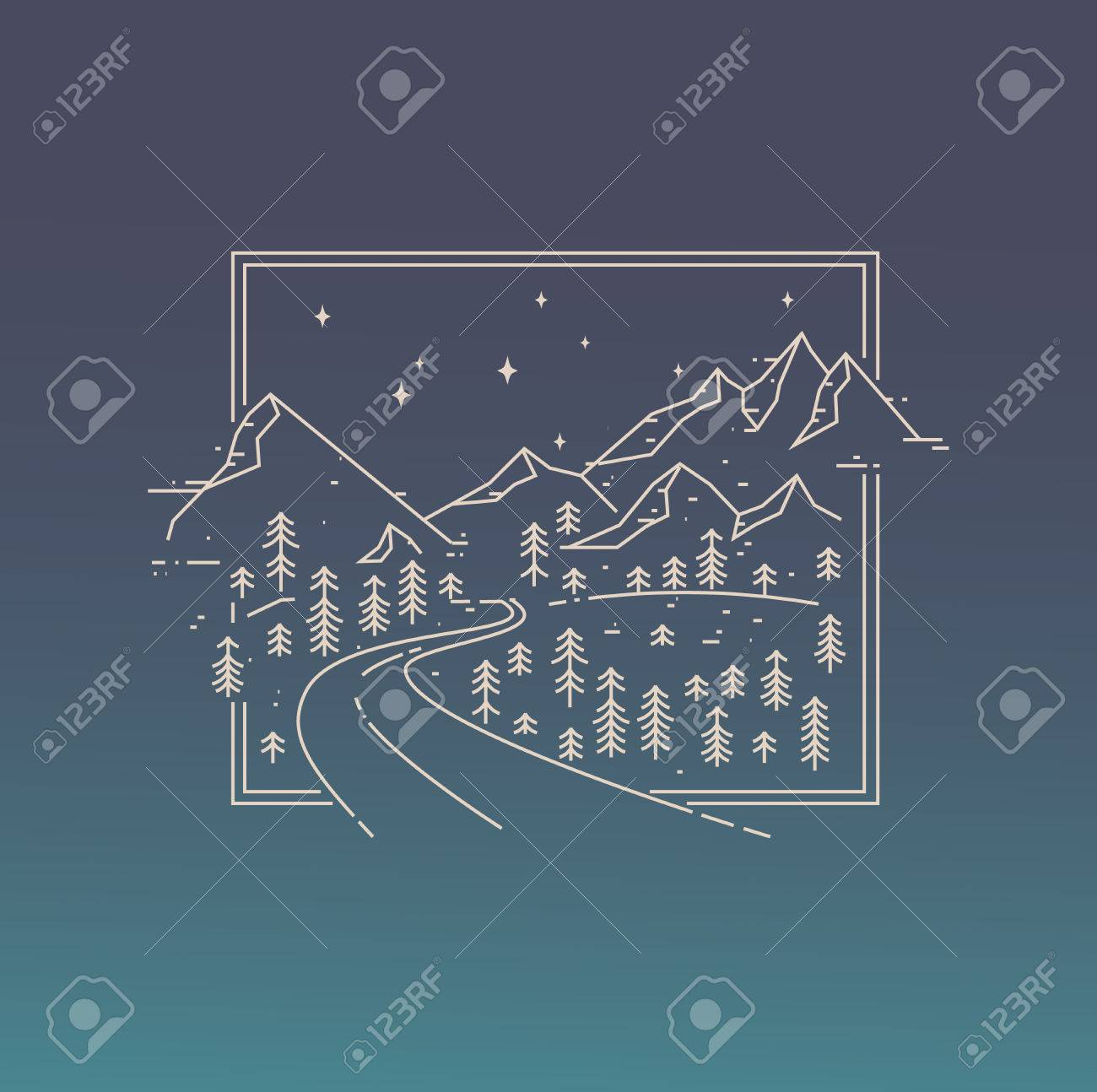 Inspiration Linear Poster With Mountains, Road And The Stars ...