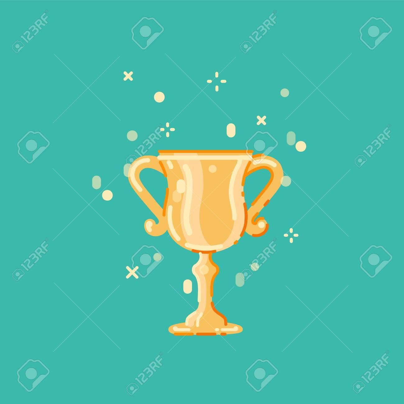 優勝カップ フラット デザイン ベクトル イラストトロフィー賞フラット