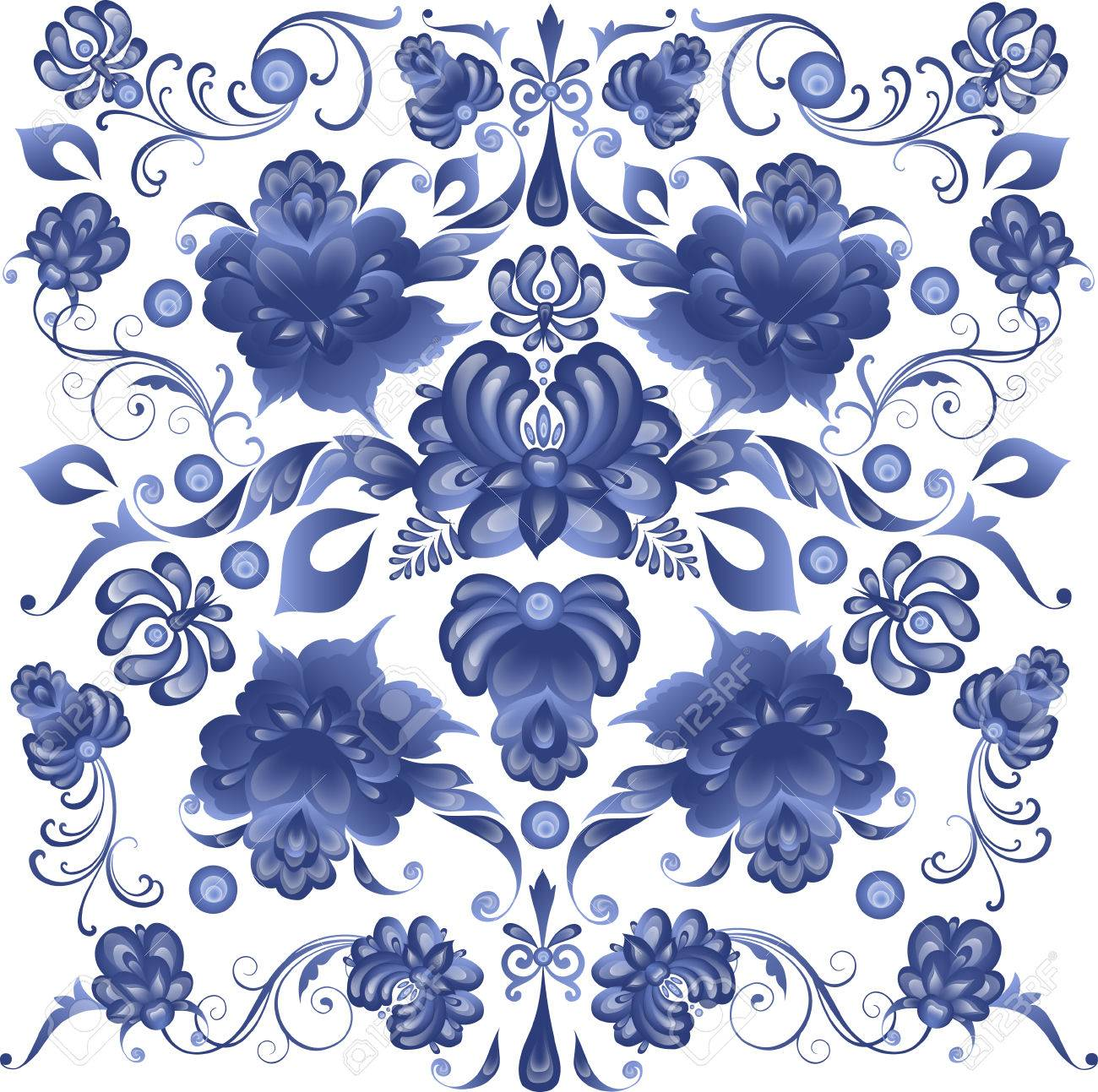 Floral Background in Gzhel Style - in vector - 49796090