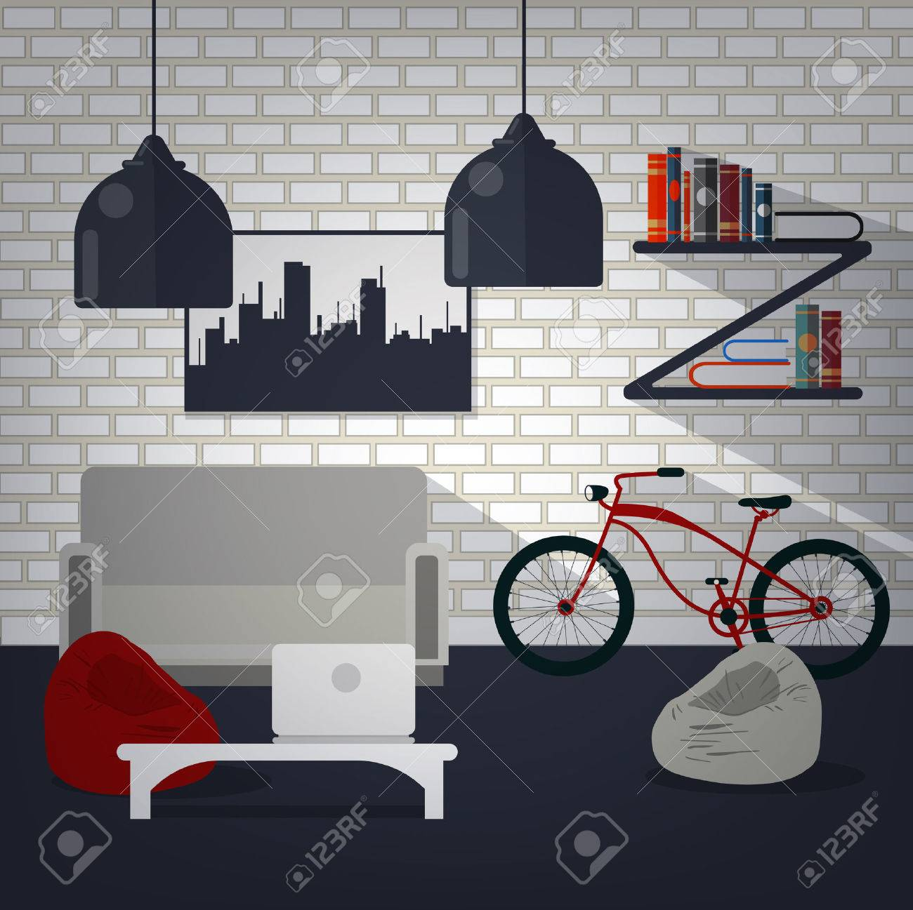 Modern Home Interior of Living Room with Bycicle, Books and Laptop. Home Sweet Home. Vector illustration in flat style Foto de archivo - 52074495
