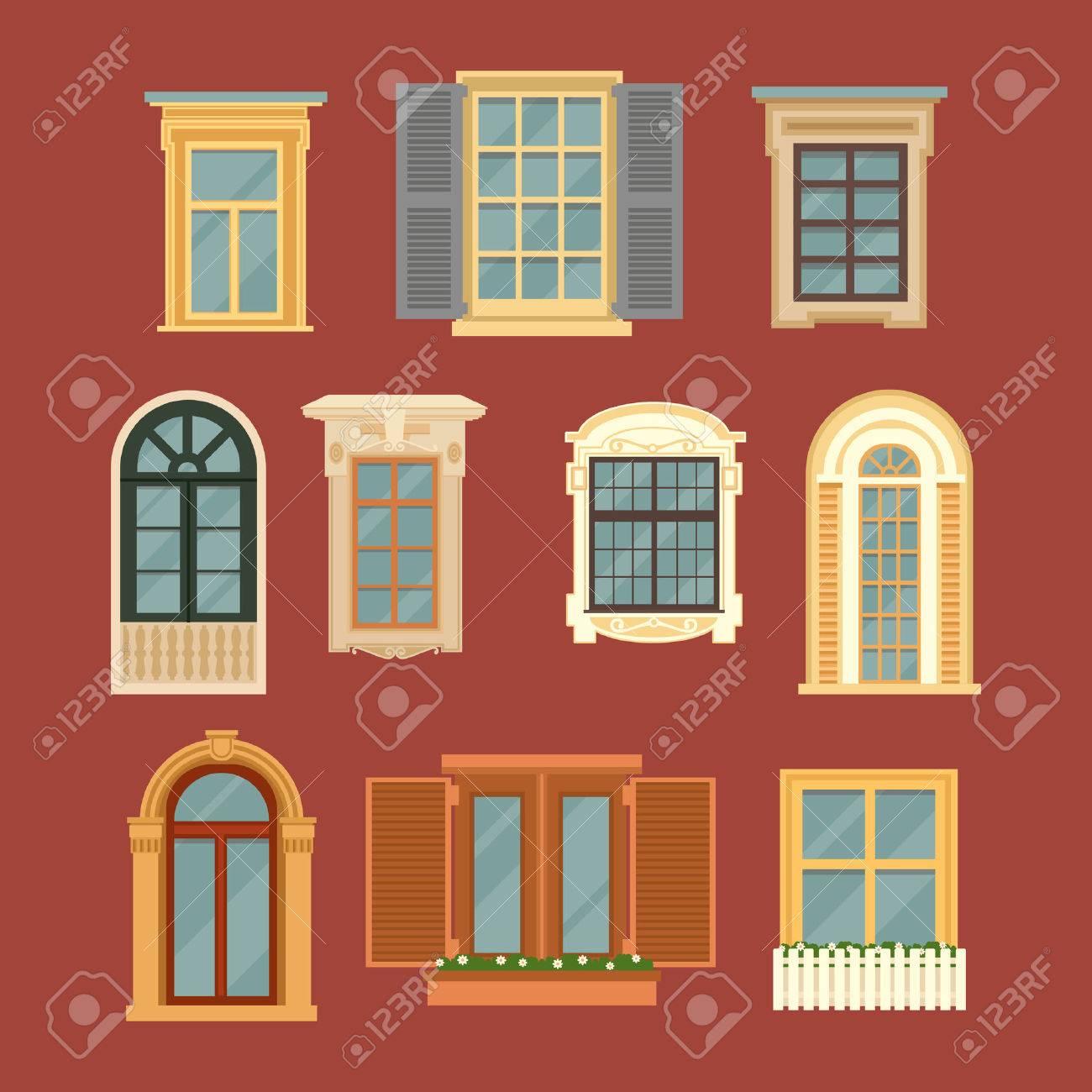 Set of Vintage Windows. Vector illustration in flat style - 52090850