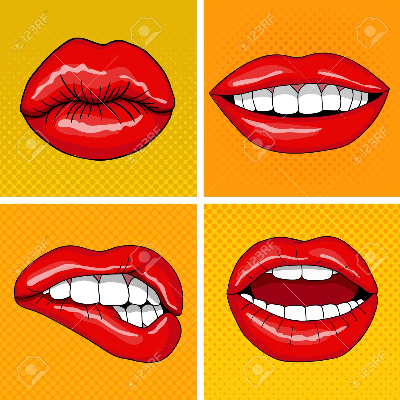 Lips Set In Retro Pop Art Style. Vector Illustration Royalty Free ...