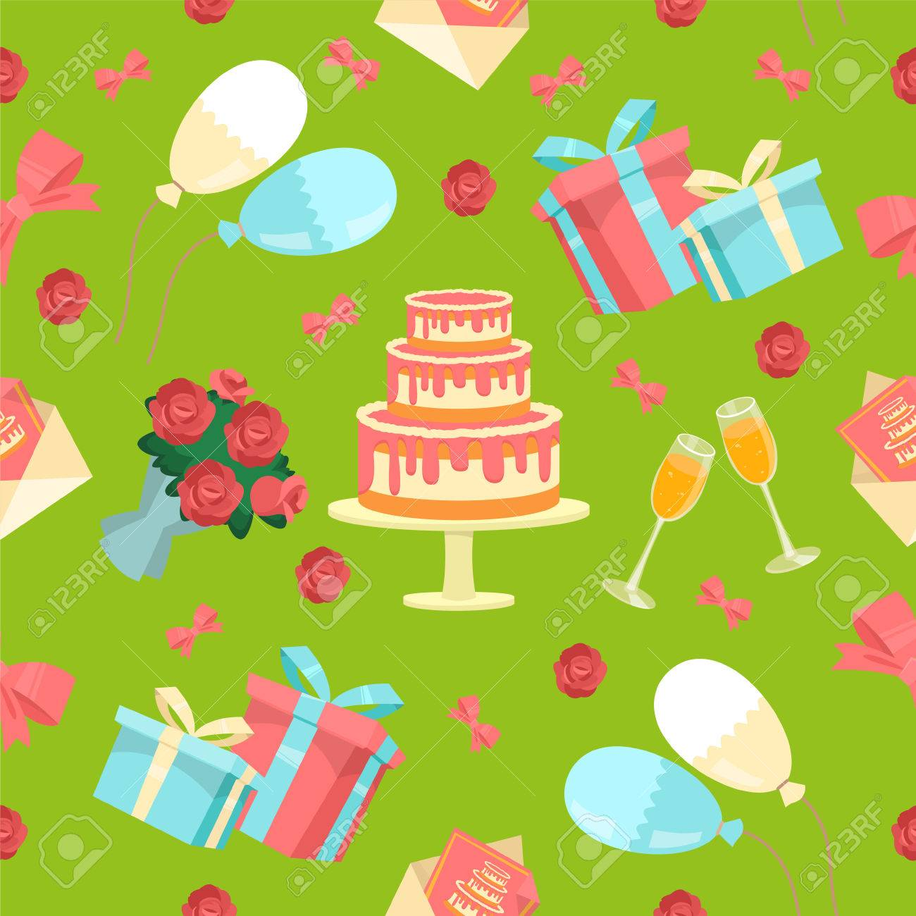 Happy Birthday Seamless Pattern With Cake Flowers And Balloons