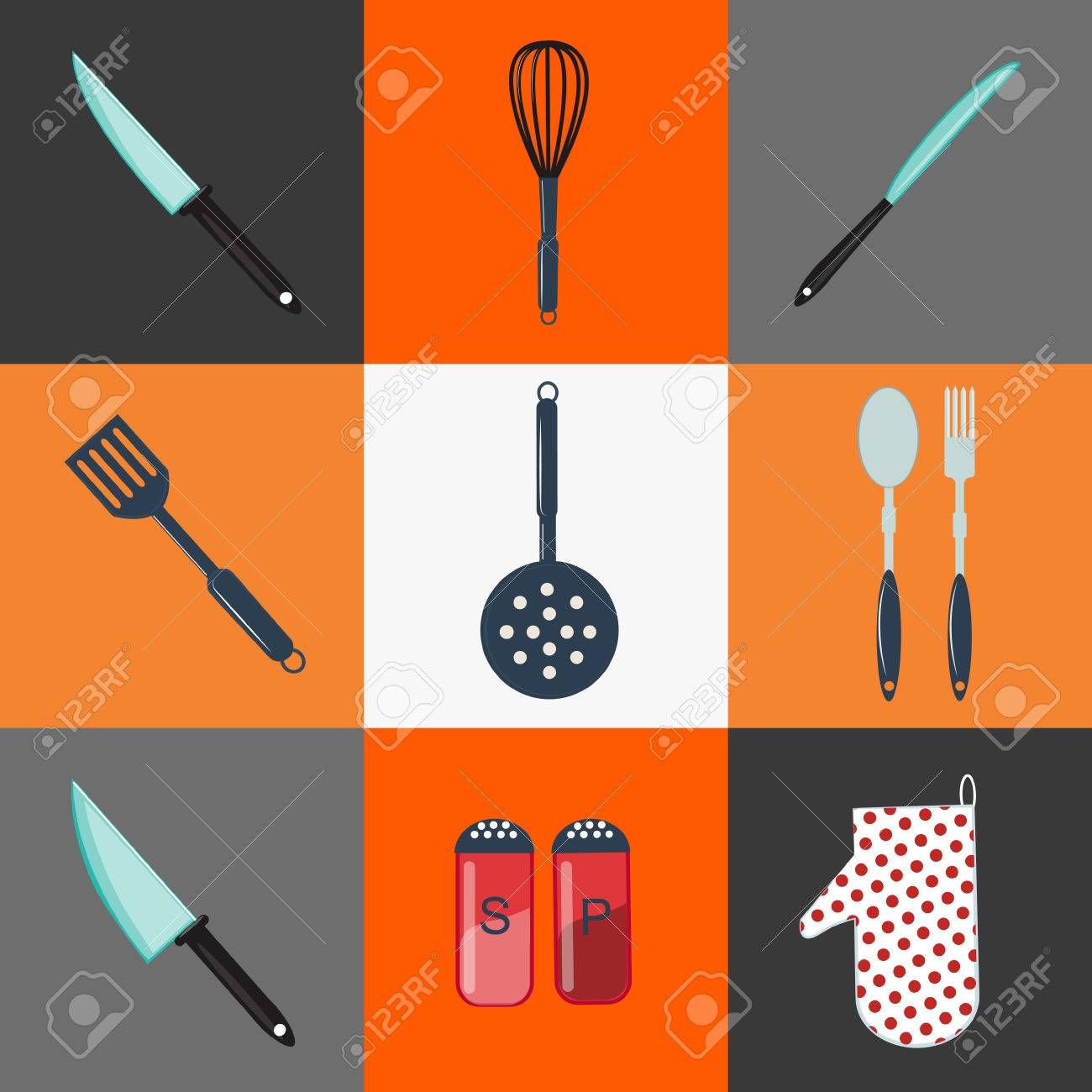 Utensili Da Cucina. Utensili Da Cucina. Posate Da Cucina. Oggetti ...