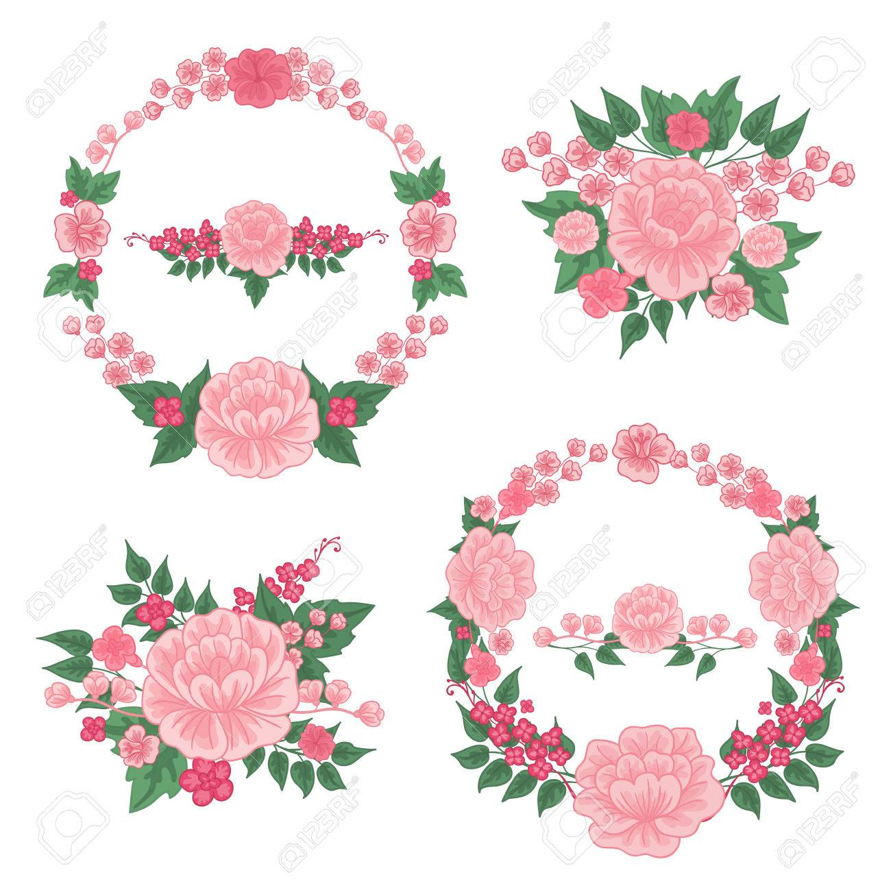 Flowers Set. Floral Frames. Greeting Cards Decoration. Wreath ...
