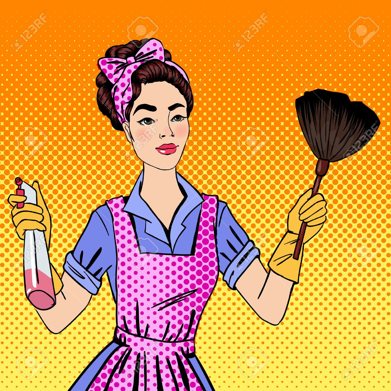 Delightful Vector   Woman Cleaning The House. Girl Doing House Work. Pin Up Girl. Pop  Art. Comic Style. Vector Illustration
