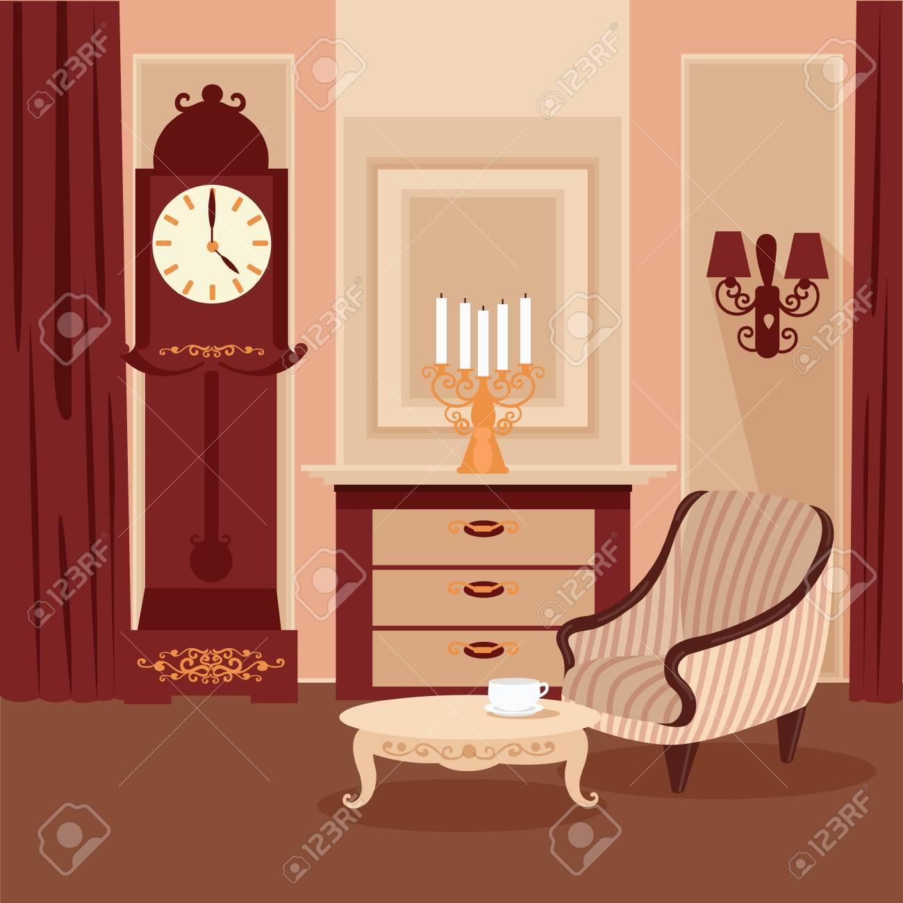 Wohnzimmer. Klassisches Interieur. Vintage-Stil. Retro-Möbel ...