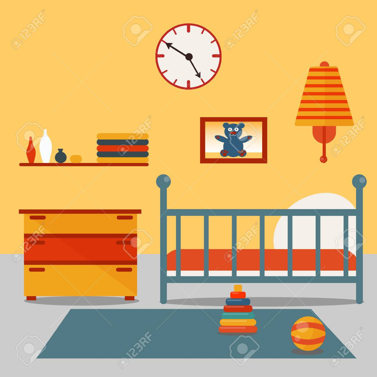 Image of: Children Bedroom Interior Child Furniture And Toys Vector Illustration Royalty Free Cliparts Vectors And Stock Illustration Image 55573980