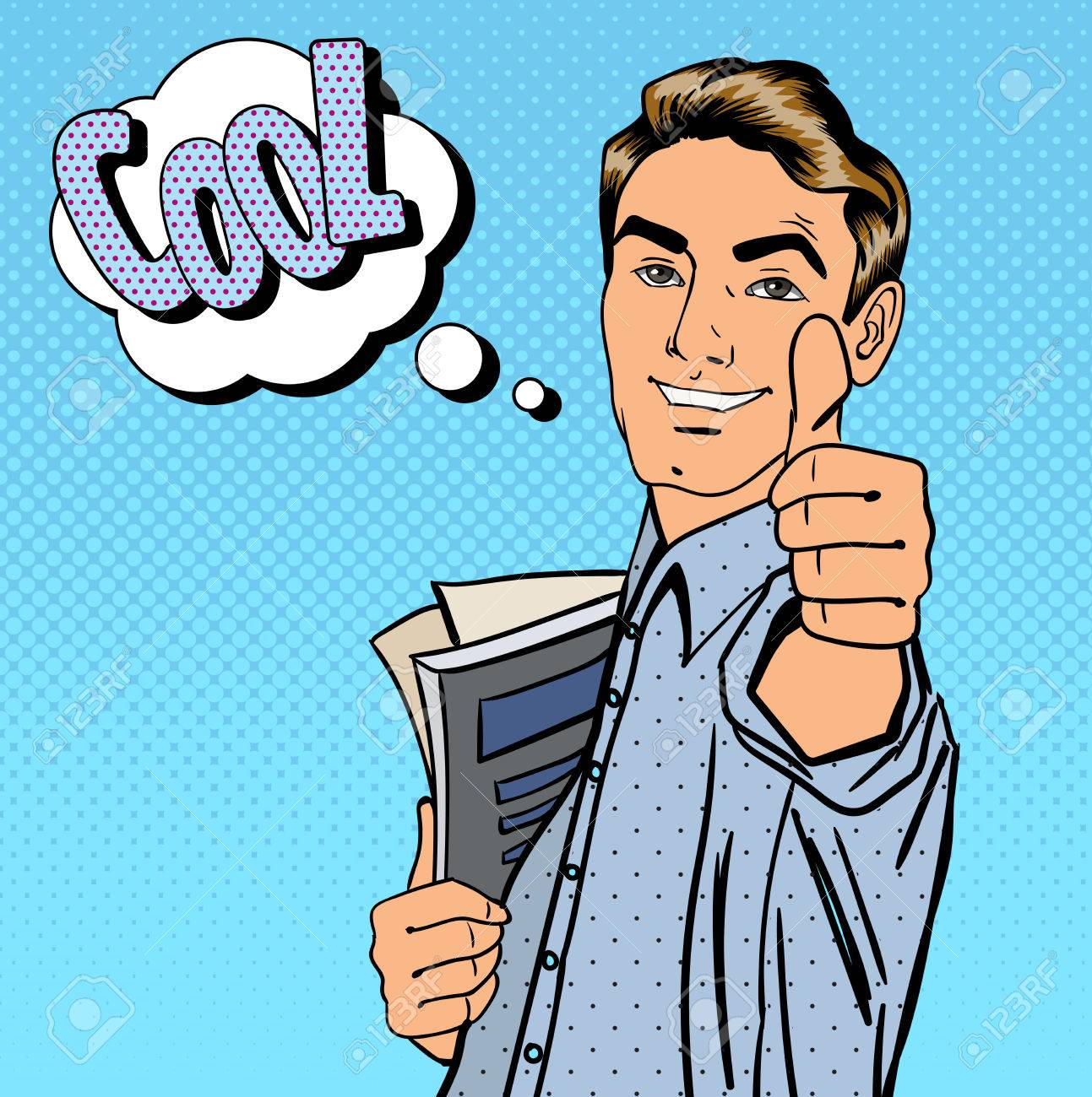 Happy Student. Man Gesturing Great. Student with Books. Expression Cool. Pop Art. Vector illustration - 56555326