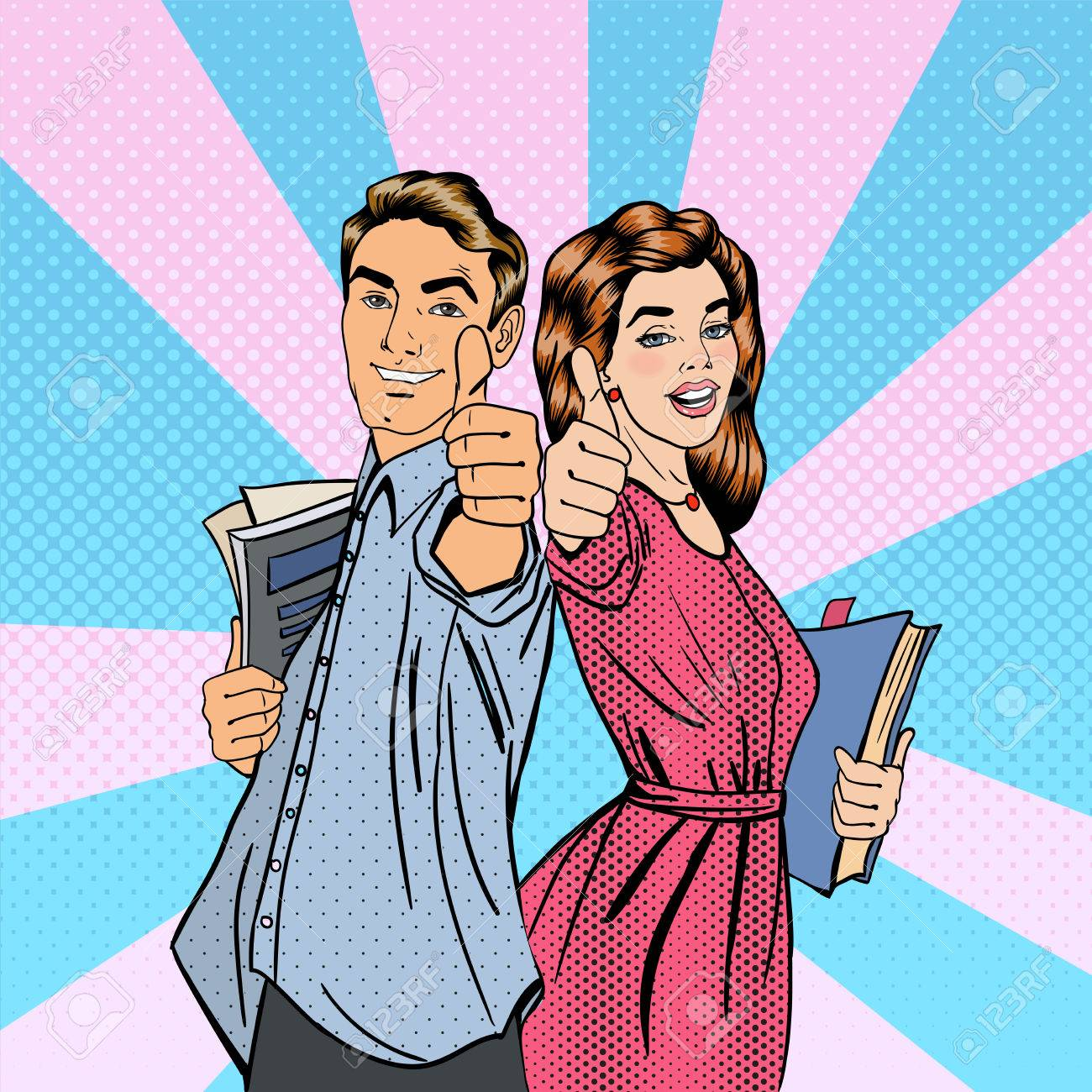 Couple of Students. Man and Woman Gesturing Great. Students with Books. Educational Concept. Pop Art. Vector illustration - 56555330