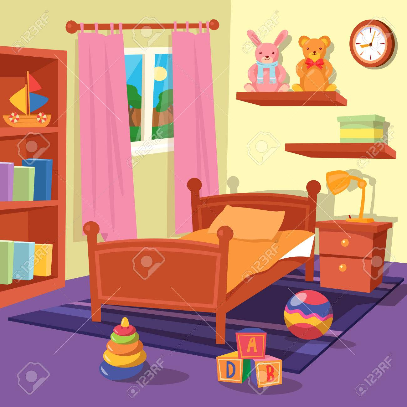 Image of: Children Bedroom Interior Children Room Vector Illustration Royalty Free Cliparts Vectors And Stock Illustration Image 57508381