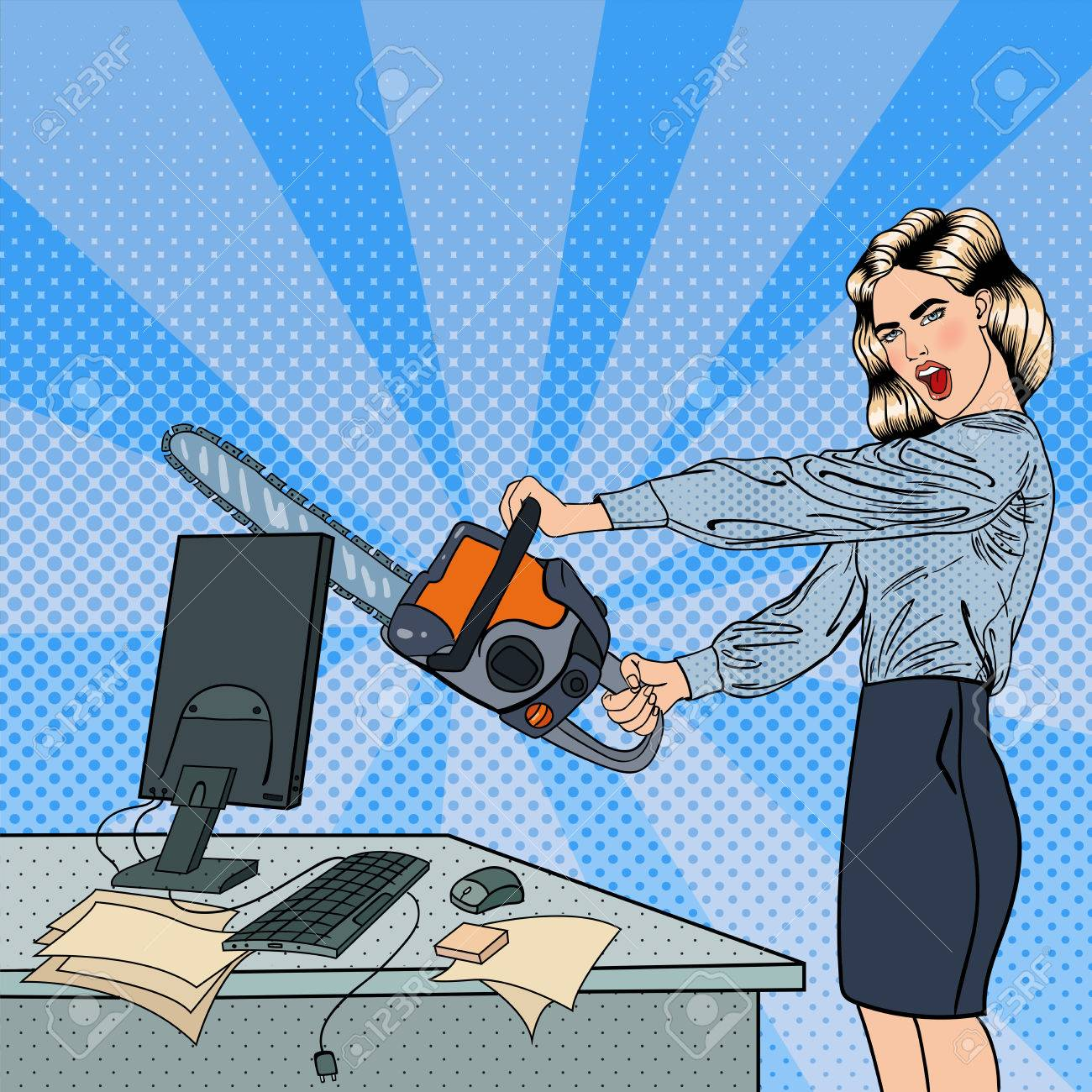 Angry Business Woman Crashes her Computer with Chainsaw. Pop Art. Vector illustration - 58725920