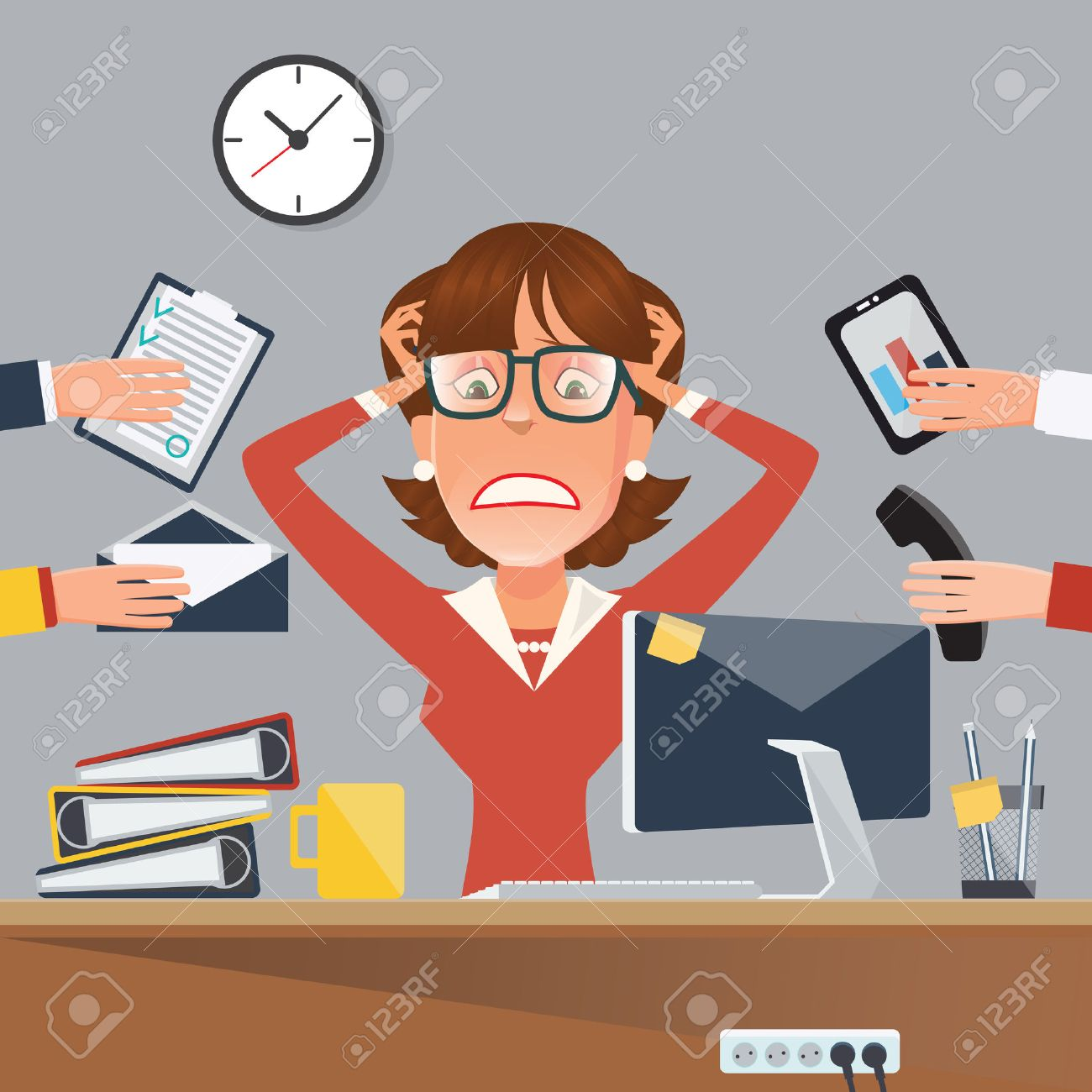 Multitasking Stressed Business Woman in Office Work Place. Vector illustration - 58727016