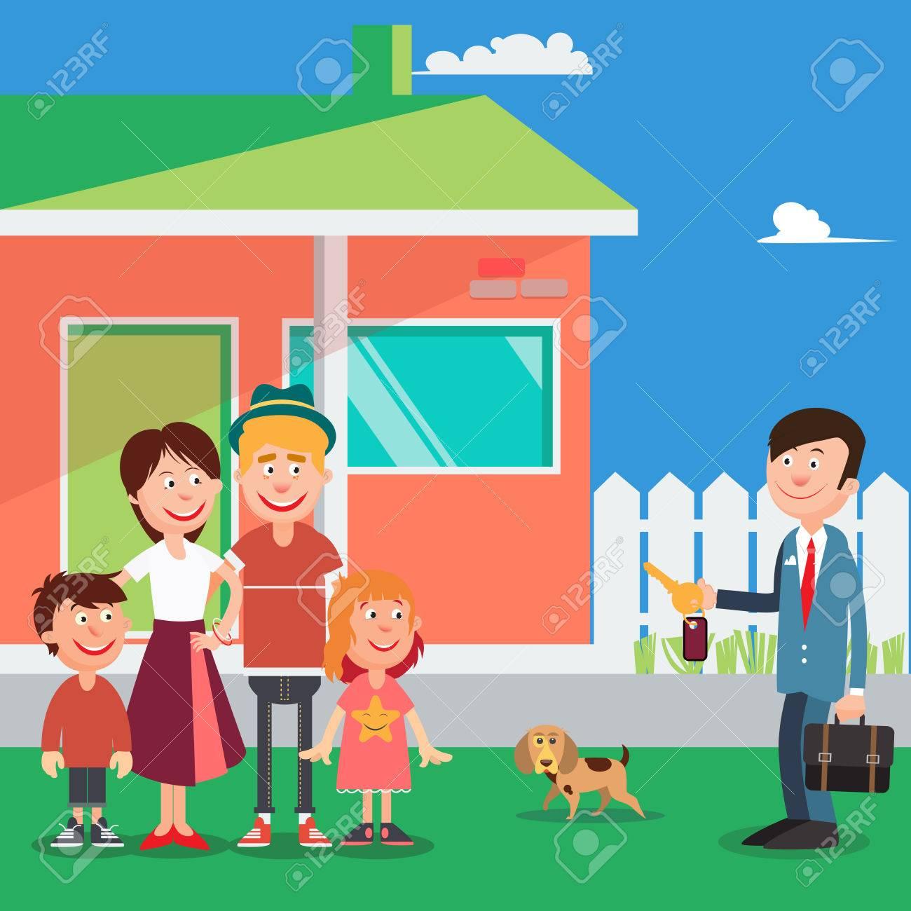 Familia Feliz Comprar Una Casa Nueva. Agente De Bienes Raíces Con ...