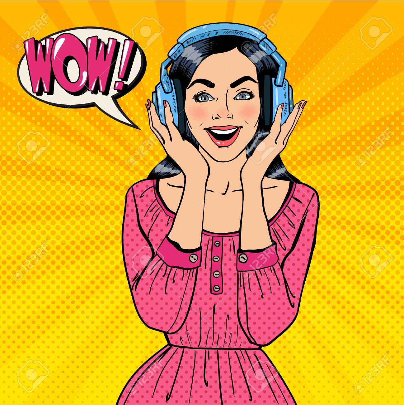 Excited Young Woman Listening Music. Girl in Headphones. Pop Art. Vector illustration - 58907538