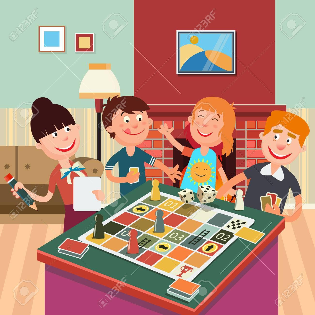 Familia Que Juega El Juego De Mesa Fin De Semana De La Familia