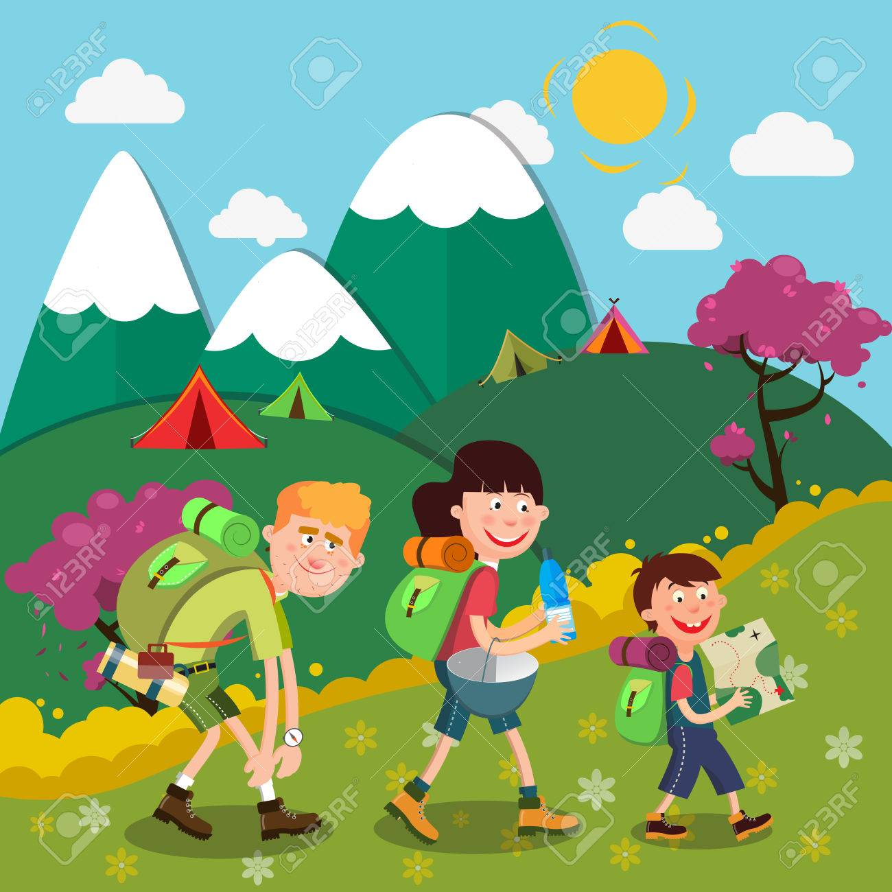 Happy Family Hiking On The Mountains Weekend Vector Illustration Stock