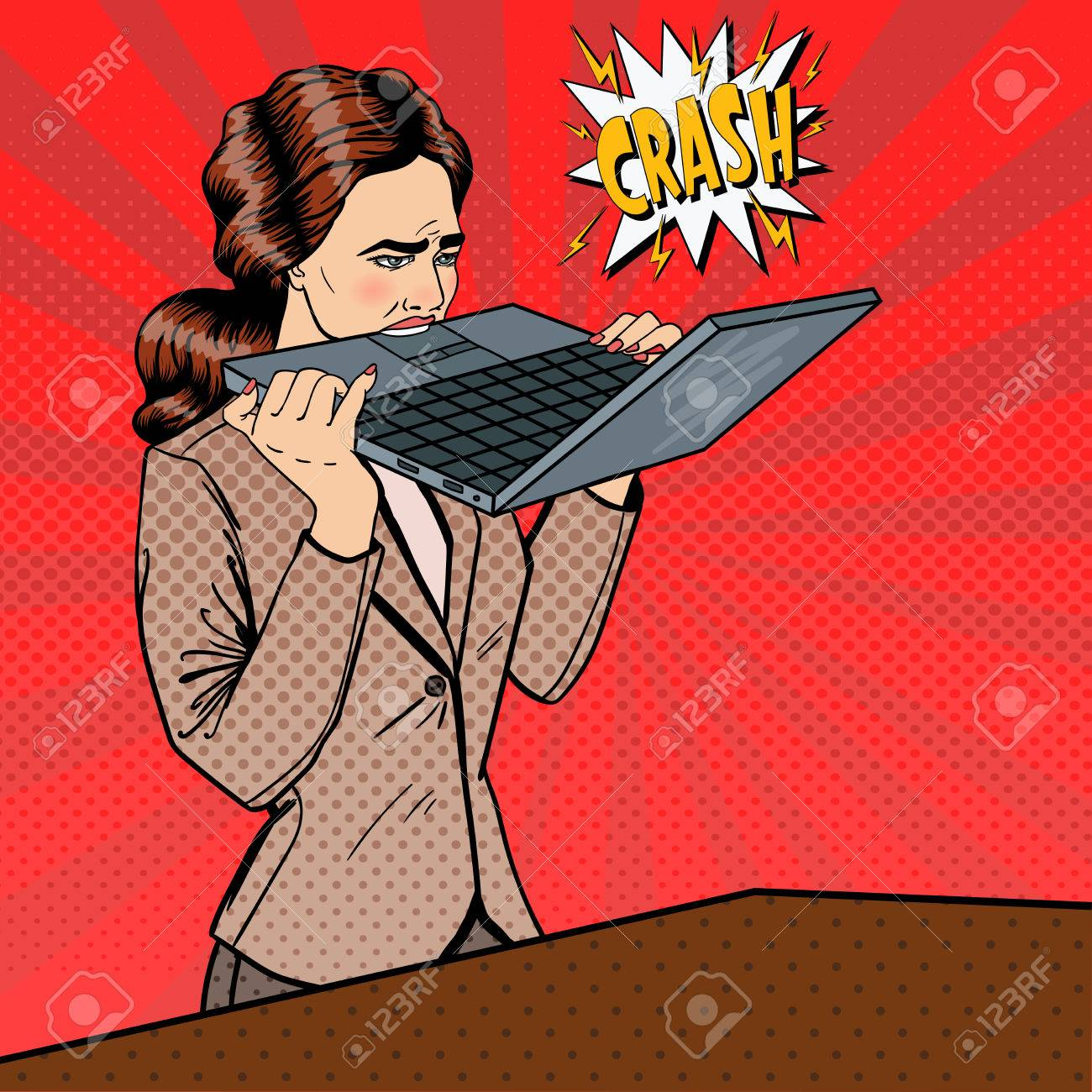 Frustrated Stressed Business Woman Biting Laptop in Office. Pop Art. Vector illustration - 59661789