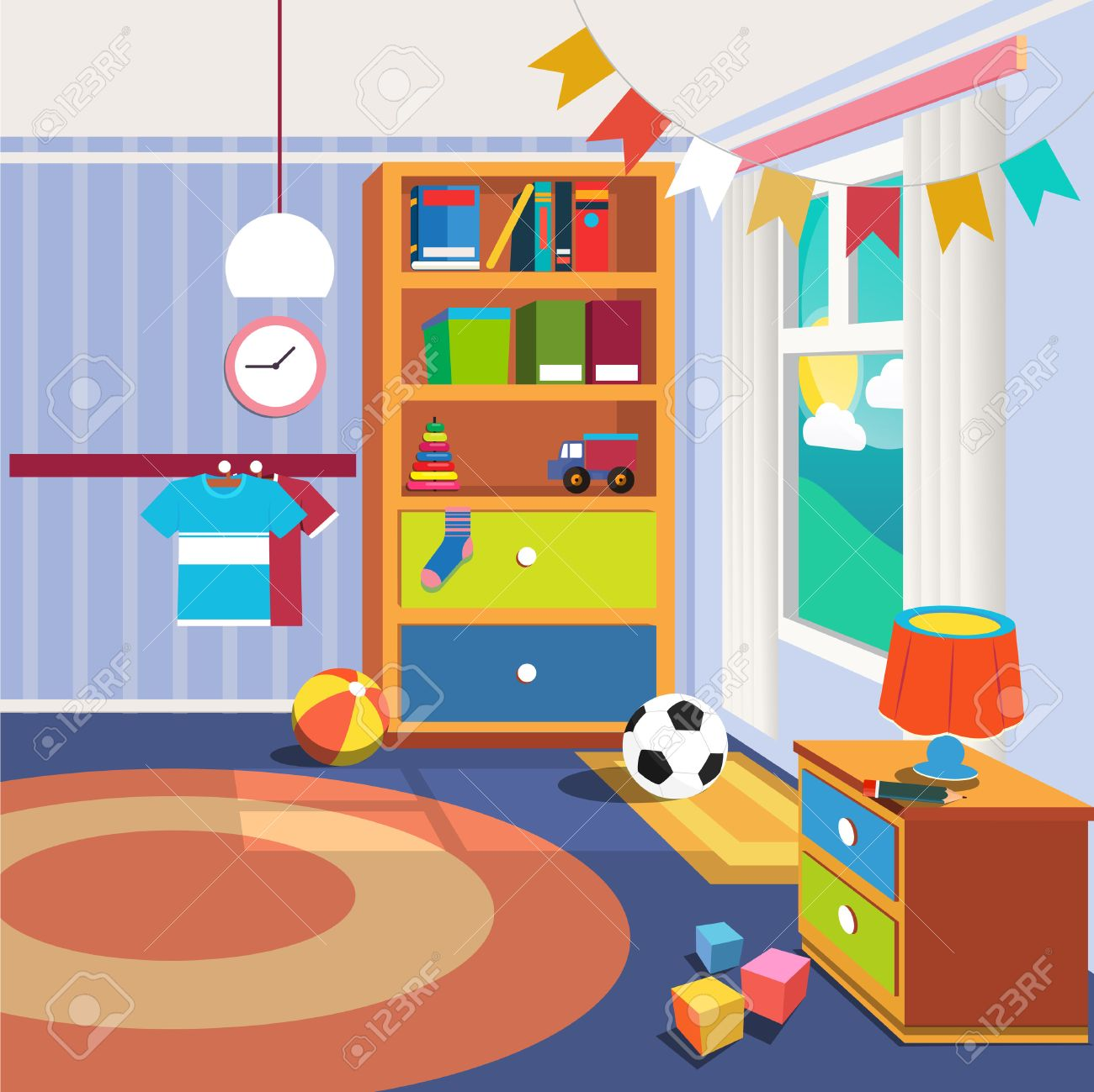 Image of: Children Bedroom Interior With Furniture And Toys Vector Illustration Royalty Free Cliparts Vectors And Stock Illustration Image 59661859