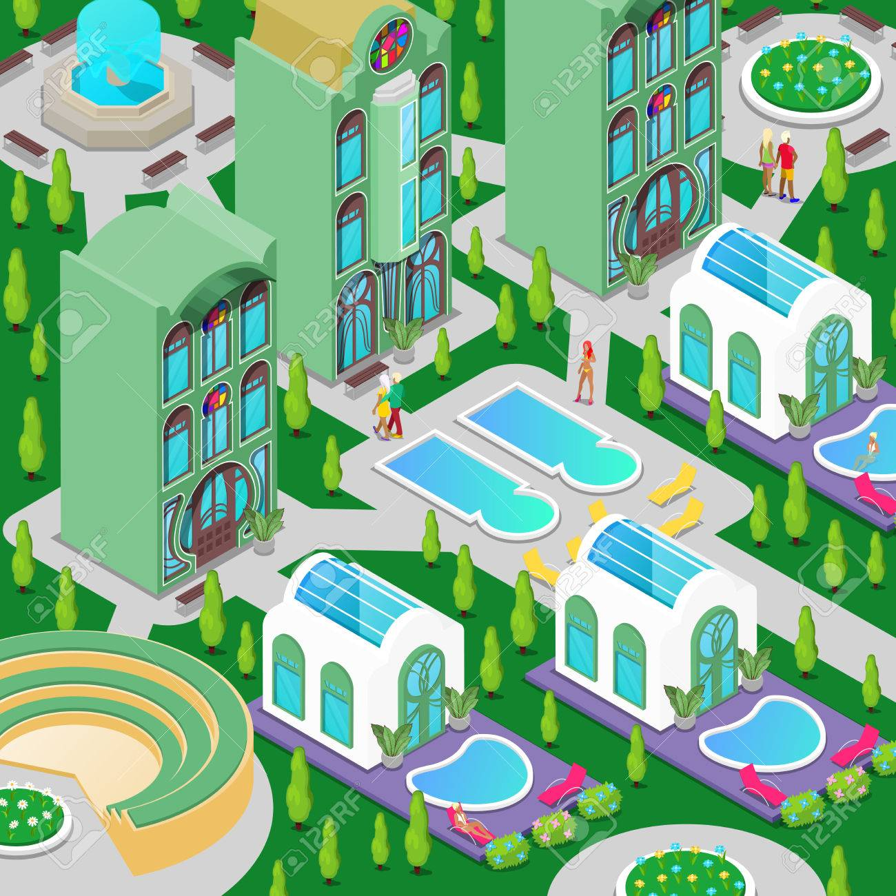 Isometric Luxury Hotel Building with Swimming Pool, Fountain..