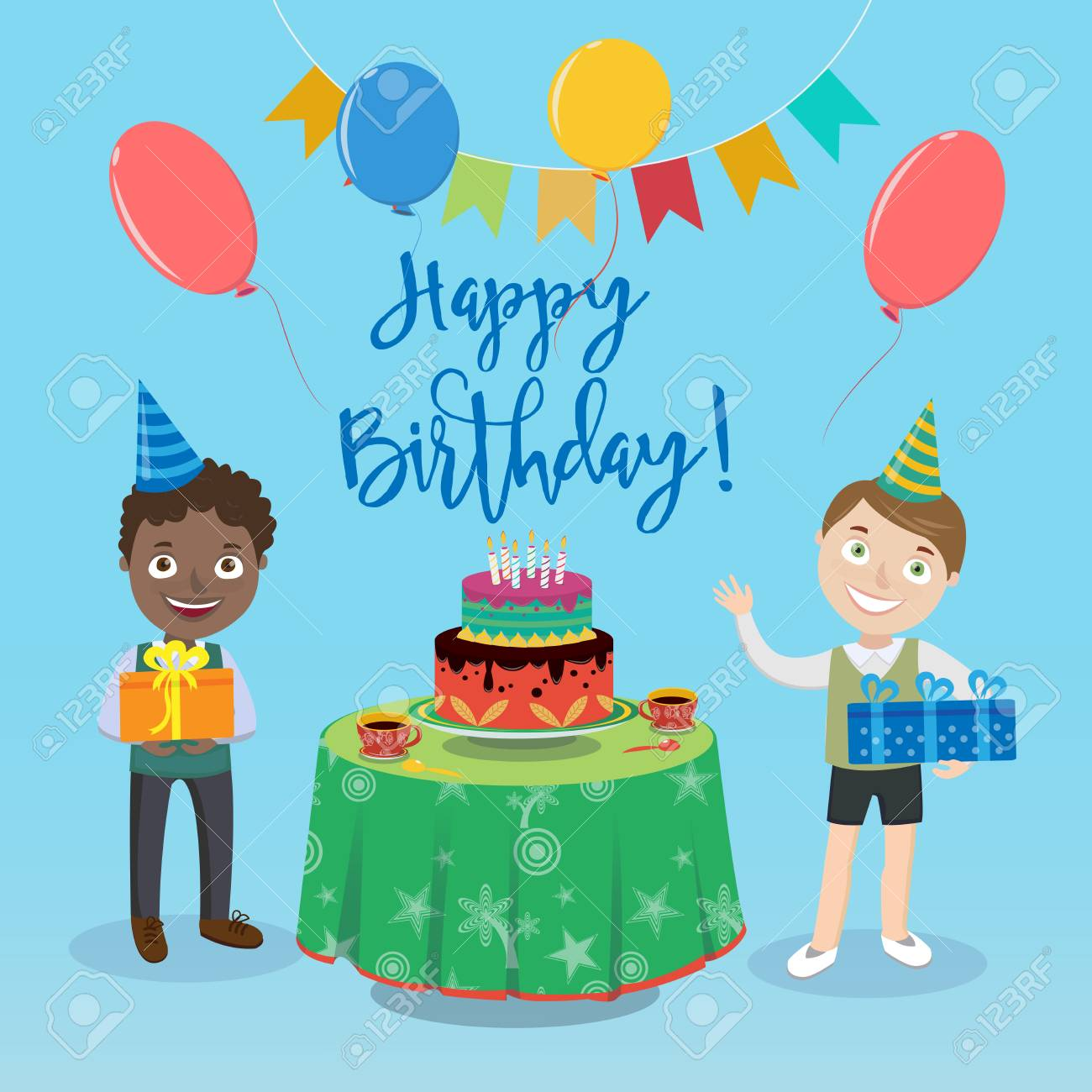 Happy Birthday Greeting Card With Boys And Cake Vector Illustration Stock